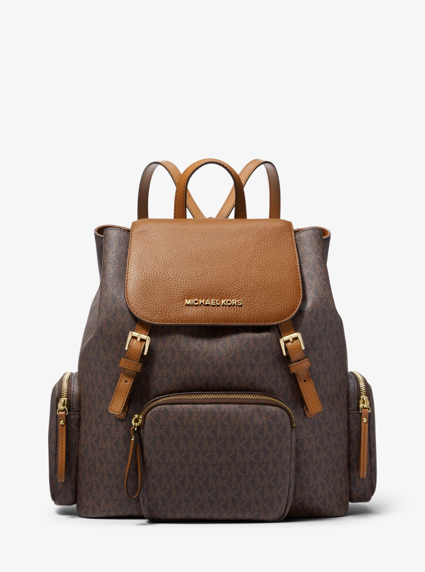 7a7aea7709b3 Michael Kors Abbey Large Logo Cargo Backpack in Brown - Lyst