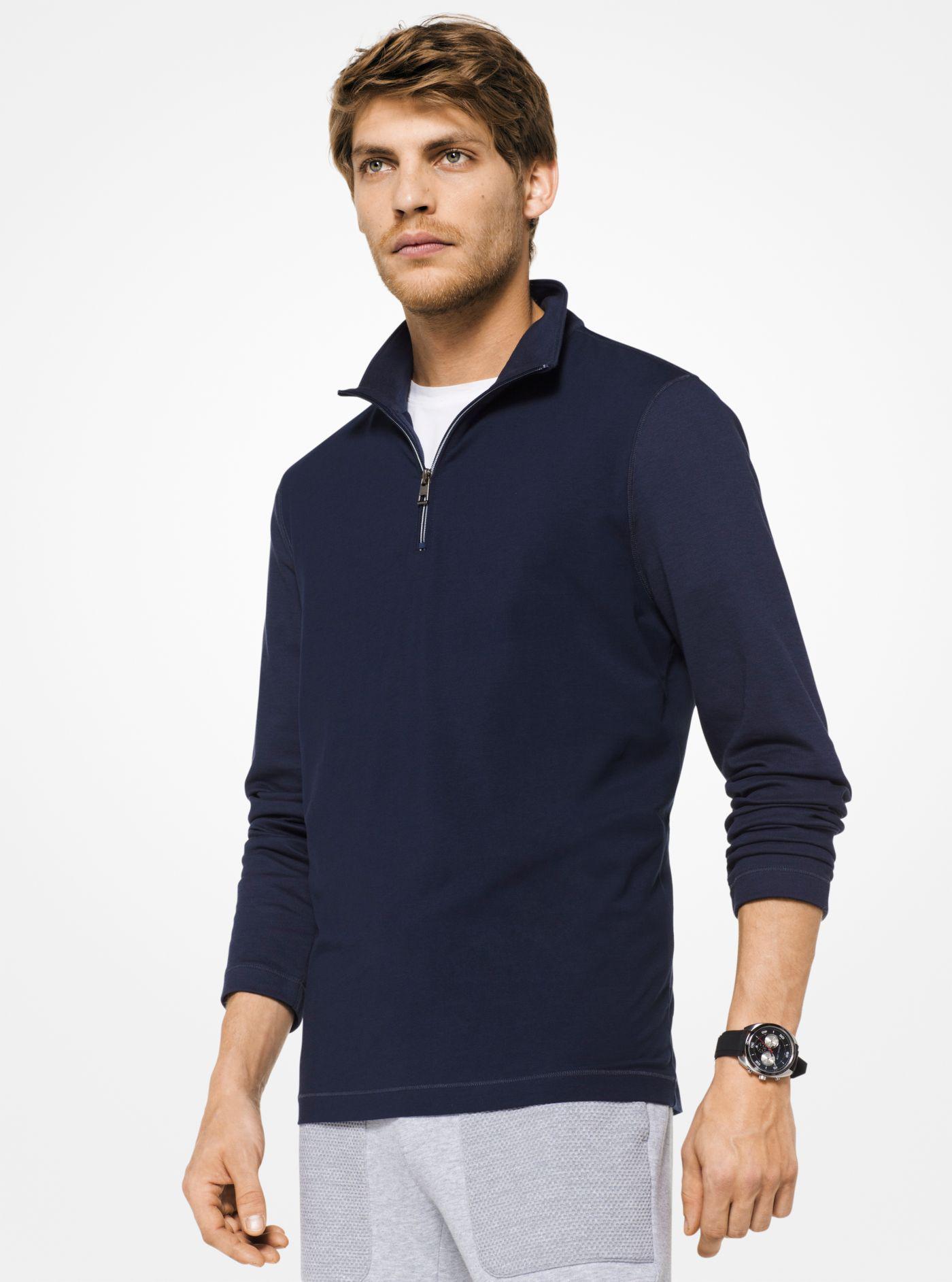 d979367308 Lyst - Michael Kors Stretch-cotton Quarter-zip Pullover in Blue for Men