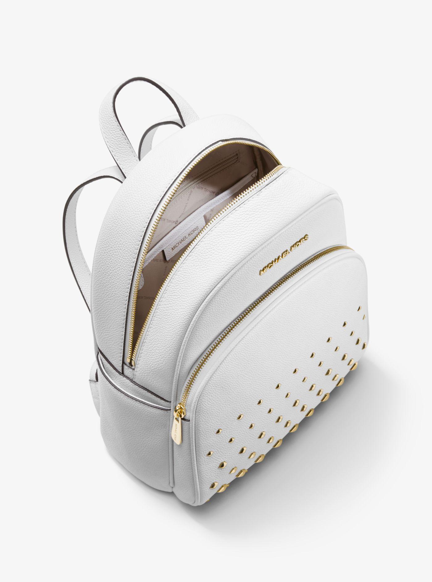 Michael Kors - White Abbey Medium Studded Pebbled Leather Backpack - Lyst.  View fullscreen 014e0cd641591