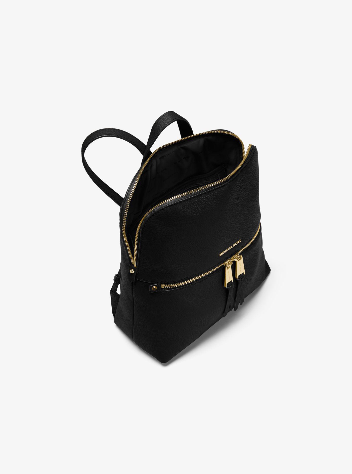 d53f6dc90945 Michael Kors - Black Rhea Medium Slim Leather Backpack - Lyst. View  fullscreen