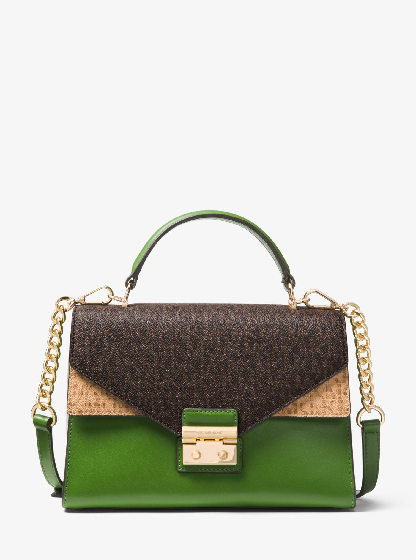 bc90d174ef4d cheap michael kors. womens green sloan medium logo and leather satchel  f6e53 0872d
