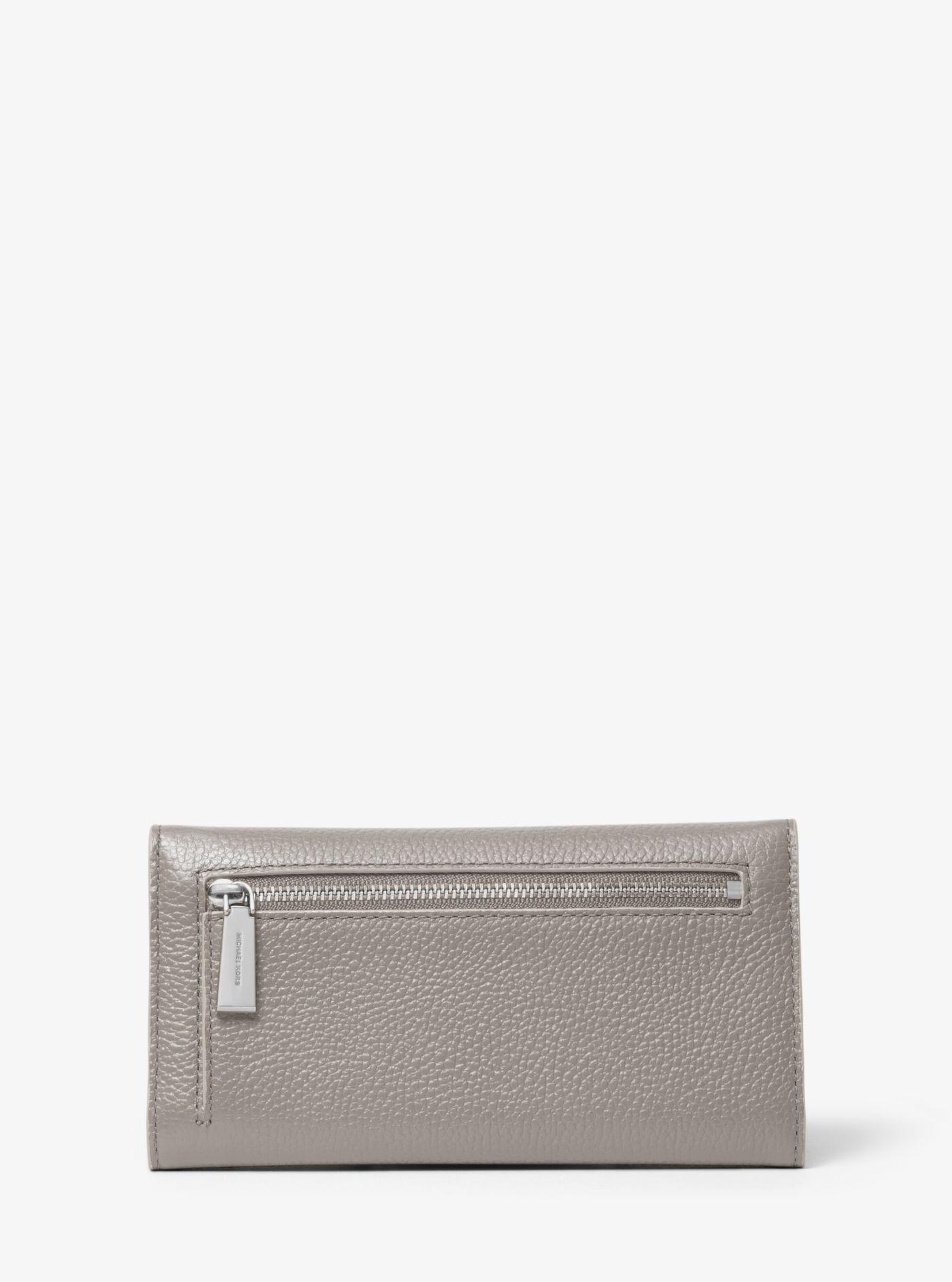 c4281483fb7b Michael Kors - Gray Large Two-tone Pebbled Leather Envelope Wallet - Lyst.  View fullscreen