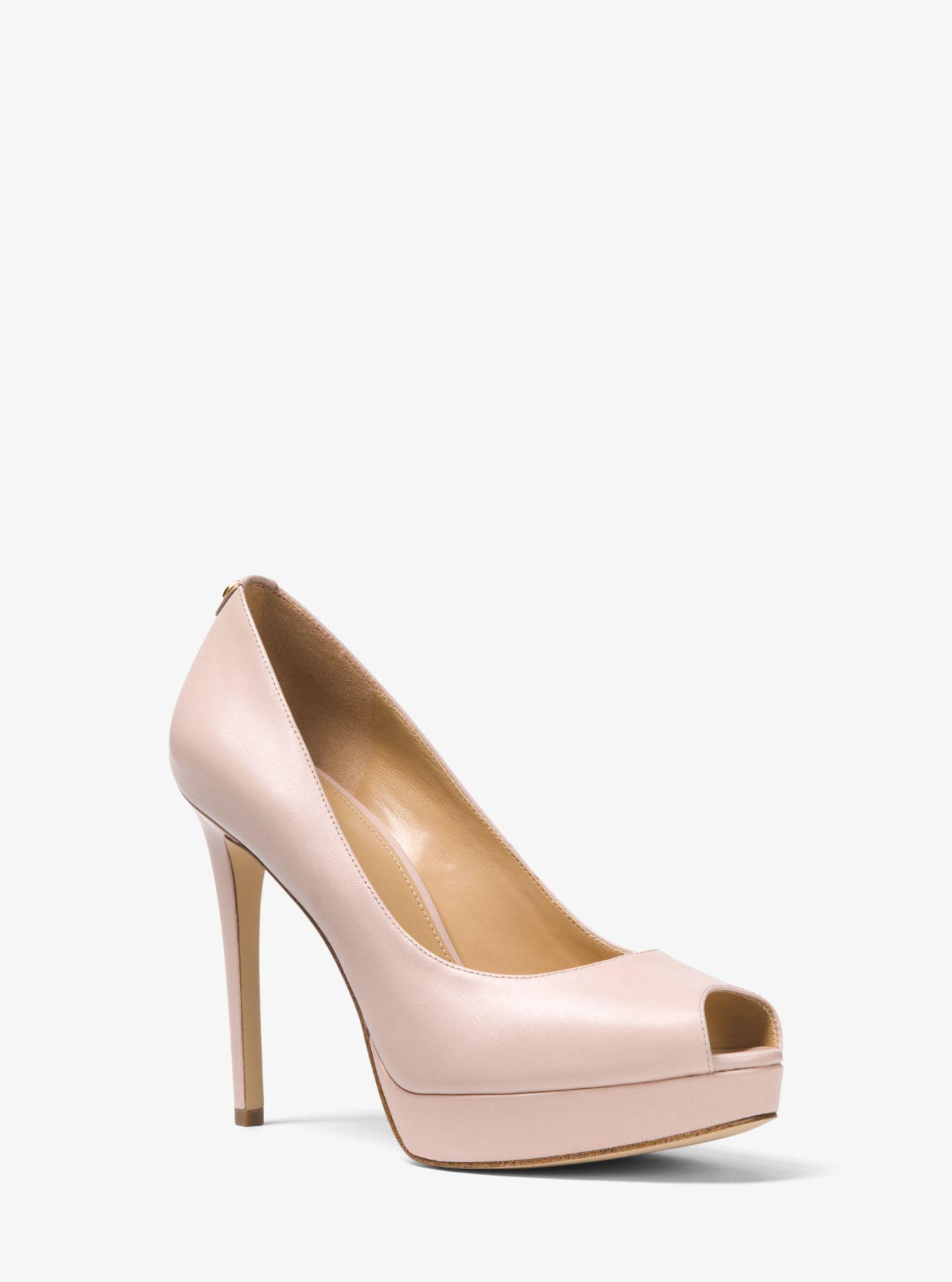 7e9e22e15688 Lyst - Michael Kors Erika Leather Peep-toe Pump in Pink