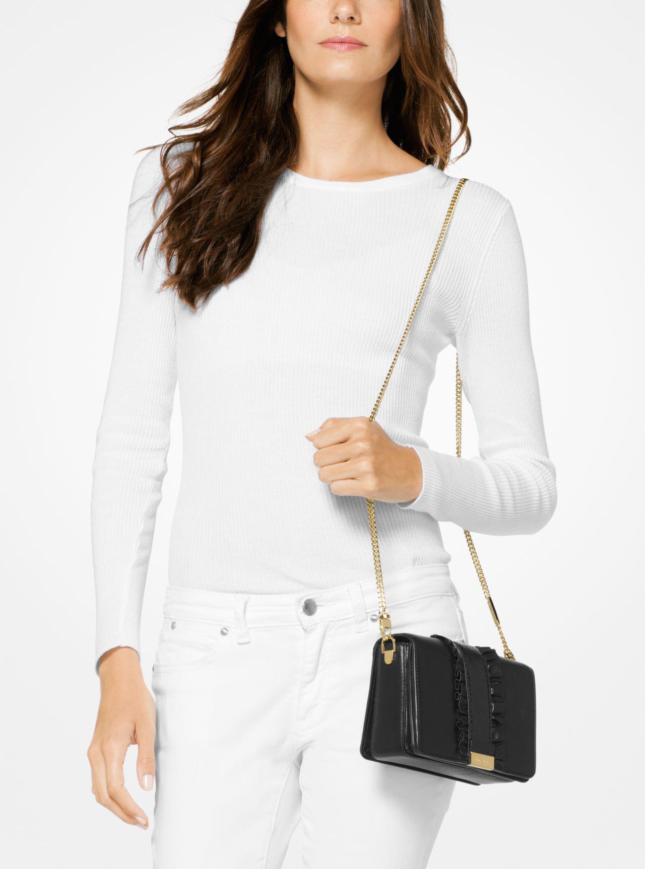 Lyst Michael Kors Jade Ruffled Leather Clutch In Black