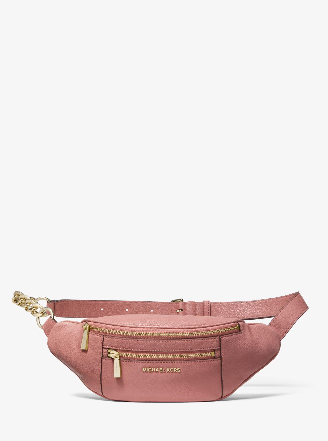 b1348b8b4c431a Michael Kors - Pink Medium Leather Belt Bag - Lyst. View fullscreen