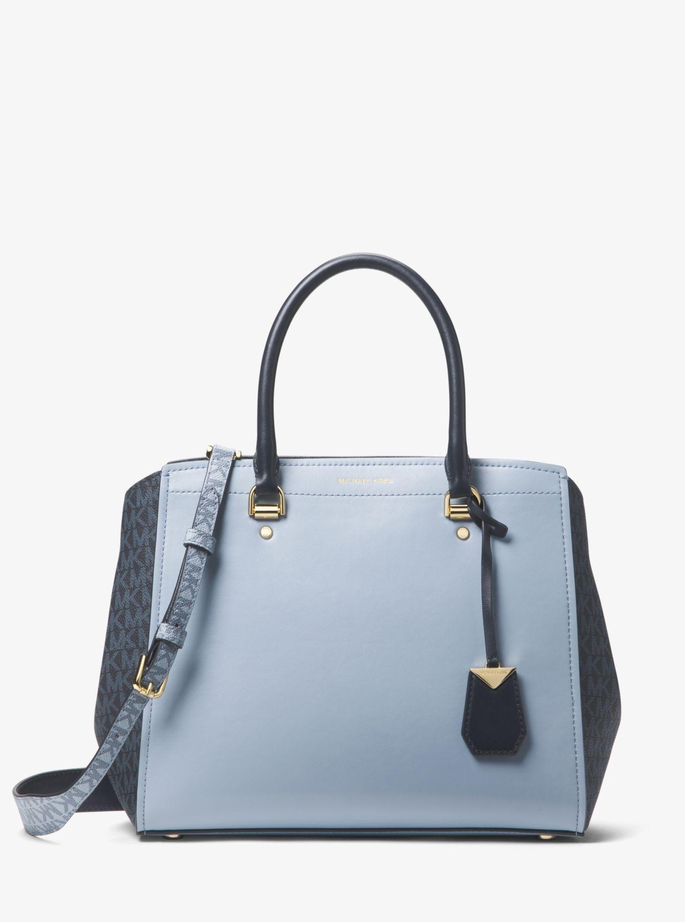 4cb8dcc76b9 ... bag truffle 6c8fd dbf8e purchase michael kors benning large leather and  logo satchel lyst 848b2 22bc1 ...