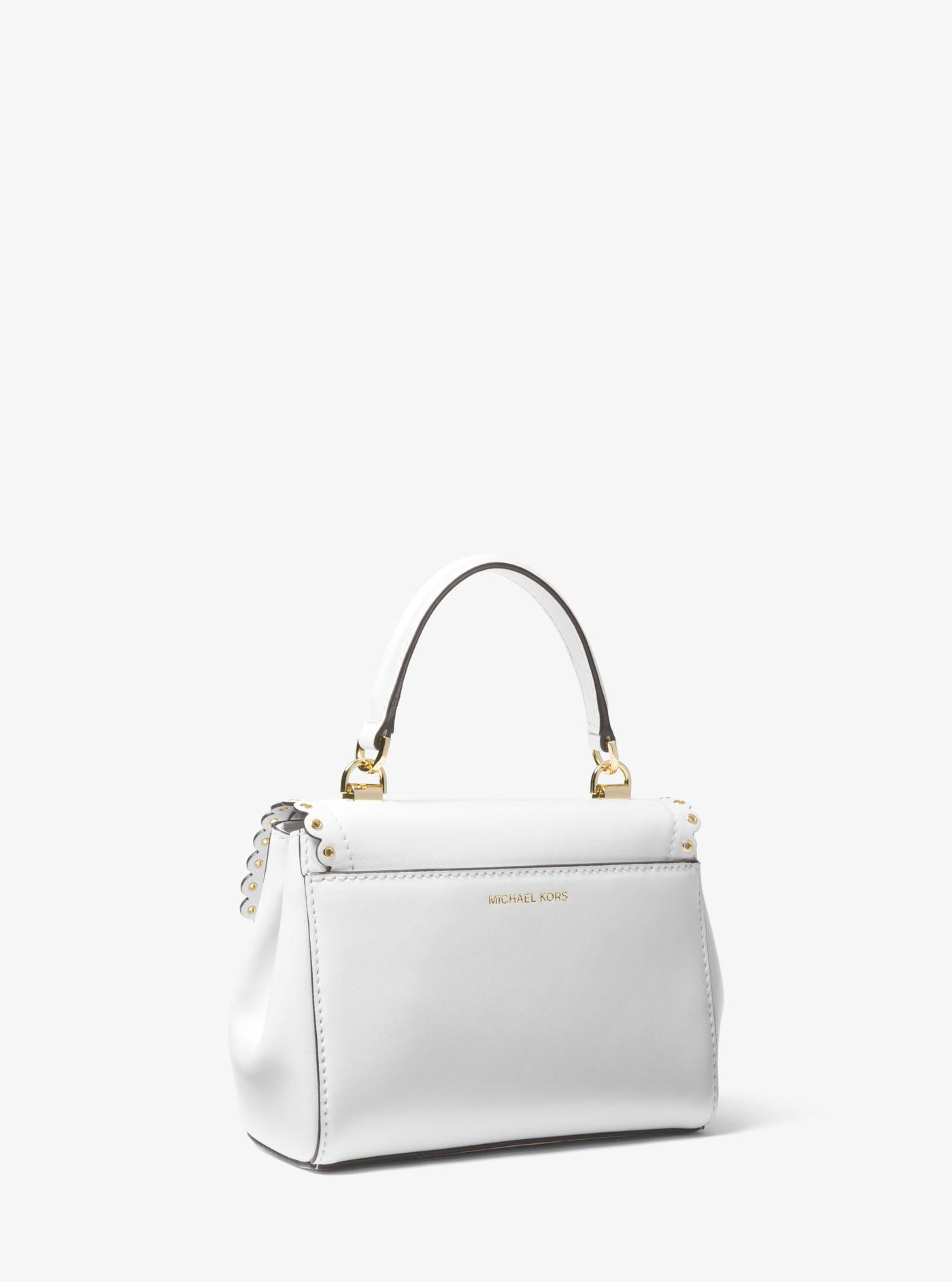 dc7626b8e6688a Michael Kors Ava Extra-small Scalloped Leather Crossbody in White - Lyst