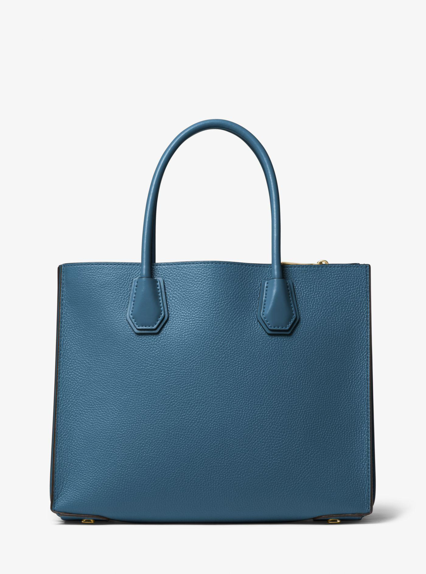 c22f1aa62 Michael Kors Mercer Large Pebbled Leather Accordion Tote in Blue - Lyst