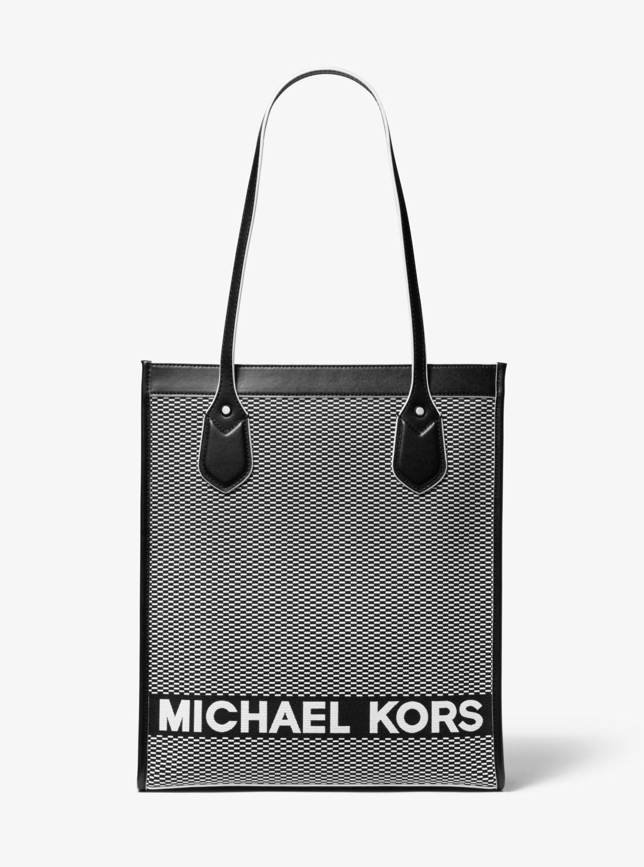 c07e10a9c920 MICHAEL Michael Kors Bay Large Woven Canvas Tote Bag in Black - Lyst