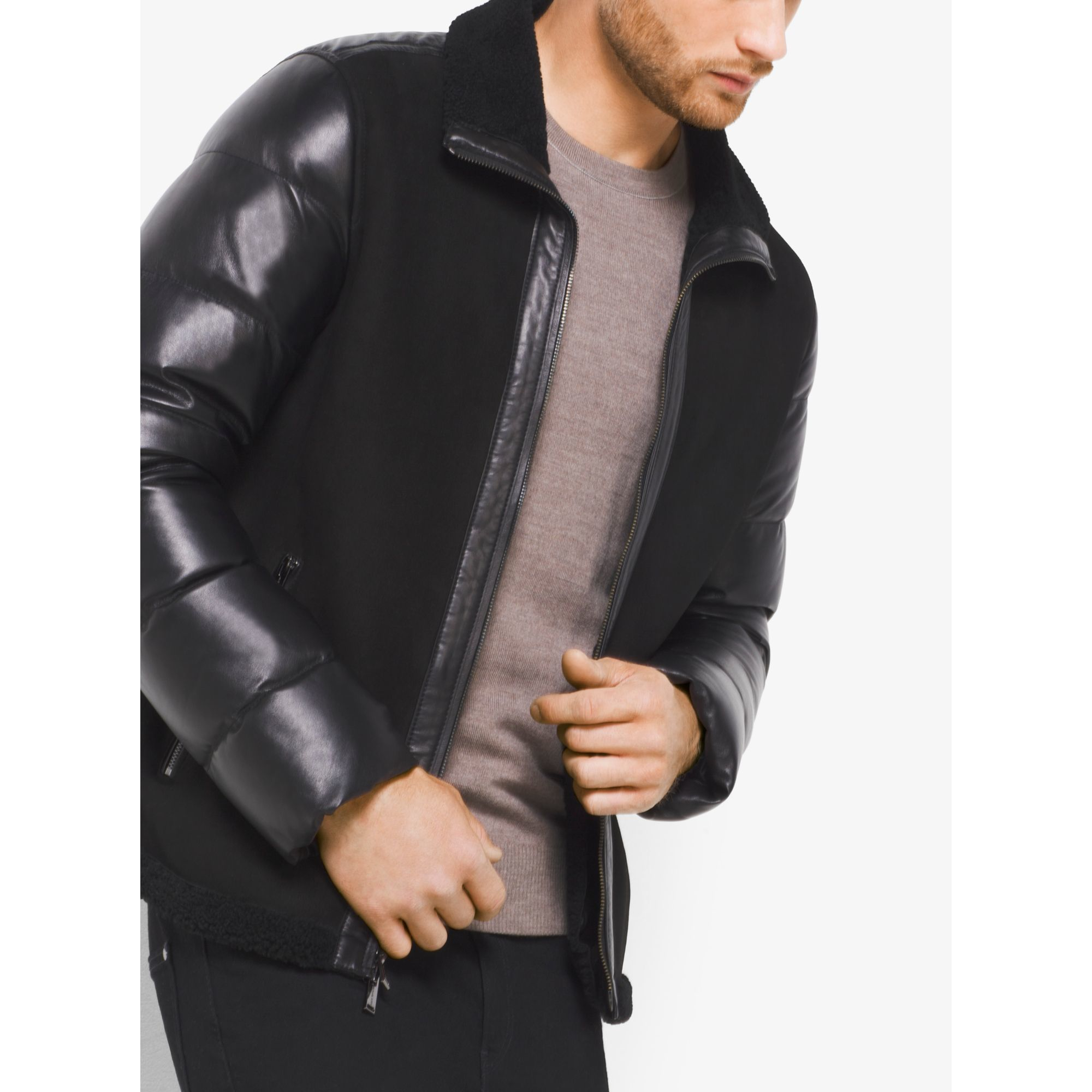 bd34383bdf1 Lyst - Michael Kors Shearling And Down Leather Jacket in Black for Men