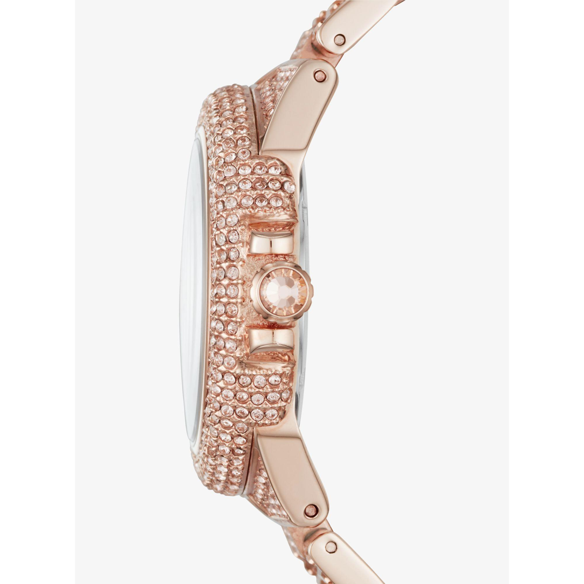 a4d4176de1f7 Lyst - Michael Kors Camille Pavé Rose Gold-tone Watch