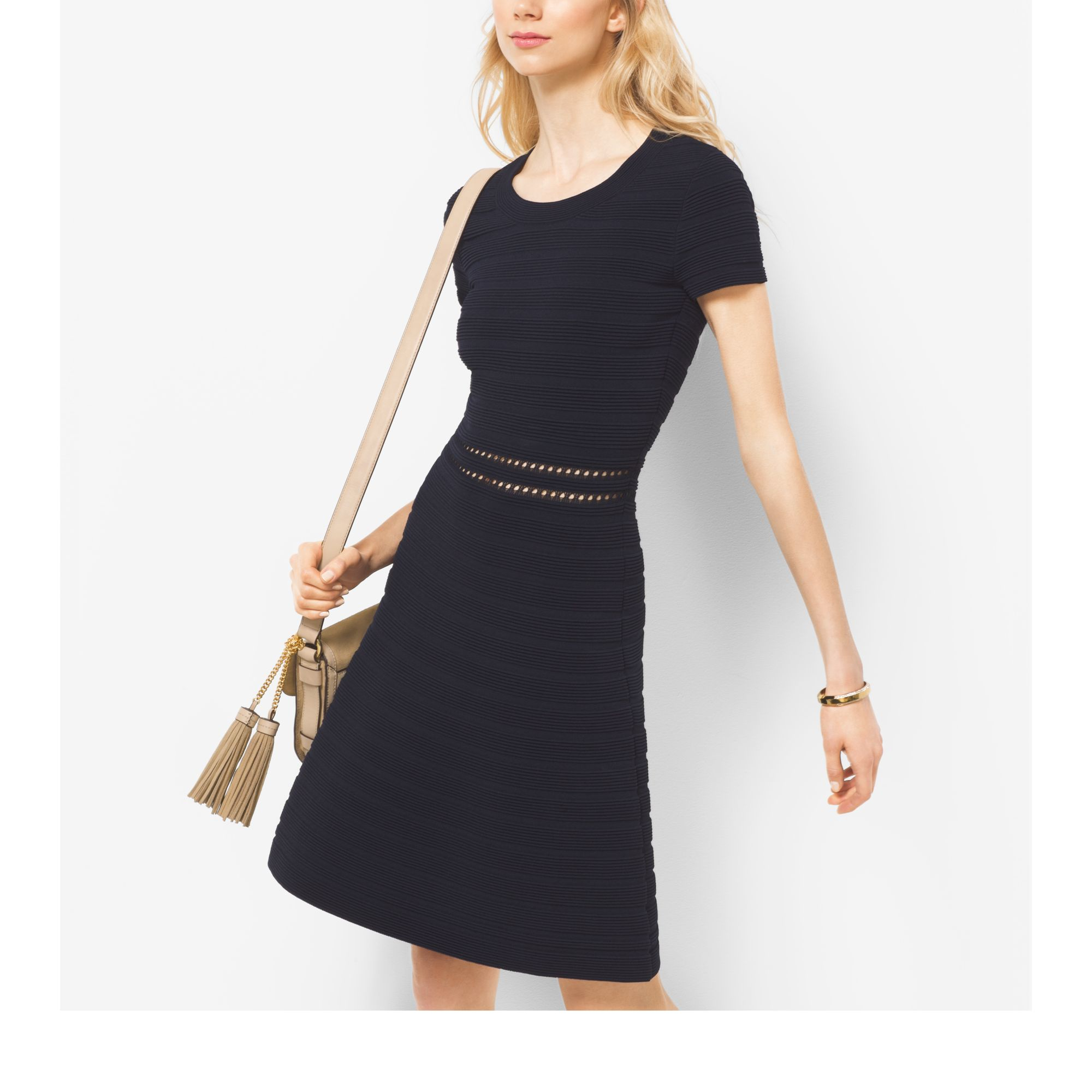 0261438176 Michael Kors Rib-knit Crewneck Dress in Black - Lyst