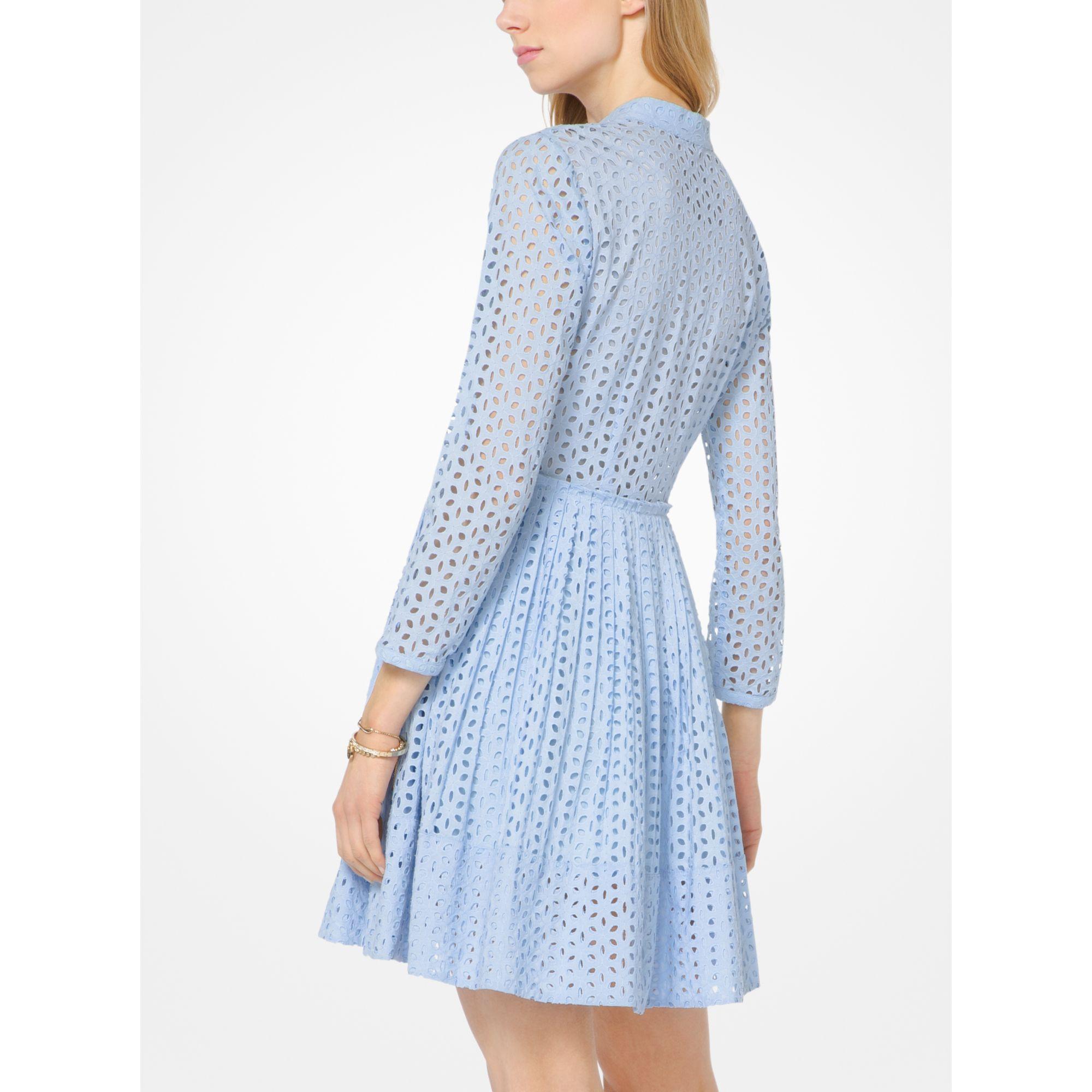 Michael kors Eyelet Cotton Shirtdress in Blue