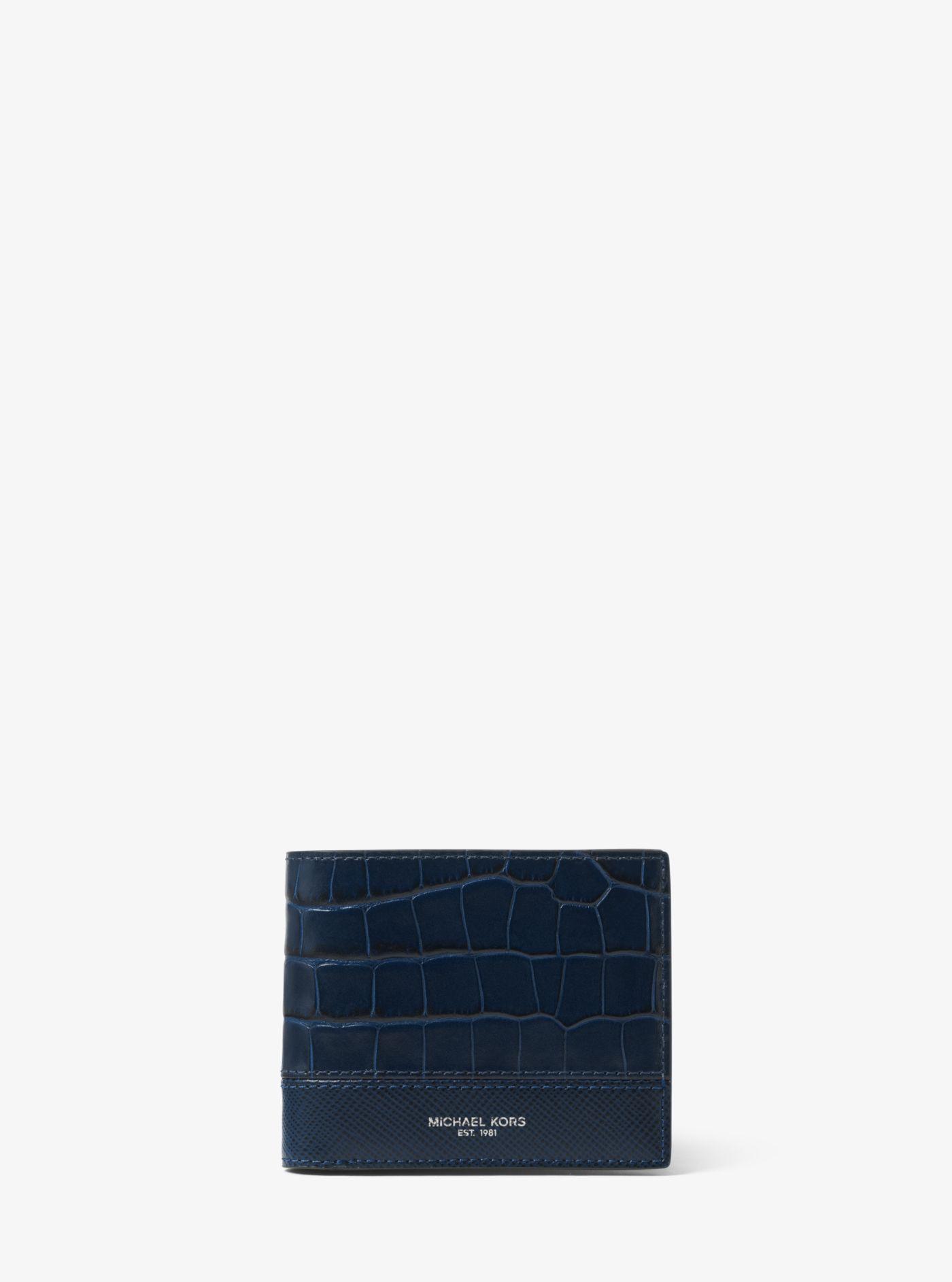 2c3830617d91 Michael Kors. Men s Blue Harrison Crocodile-embossed Leather Id Billfold  Wallet