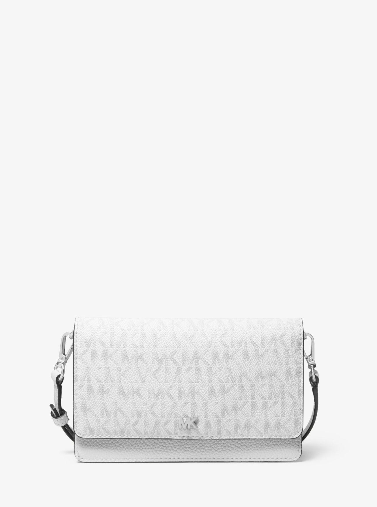 c097266e3a83 MICHAEL Michael Kors. Women's White Pebbled Leather And Logo Convertible  Crossbody Bag