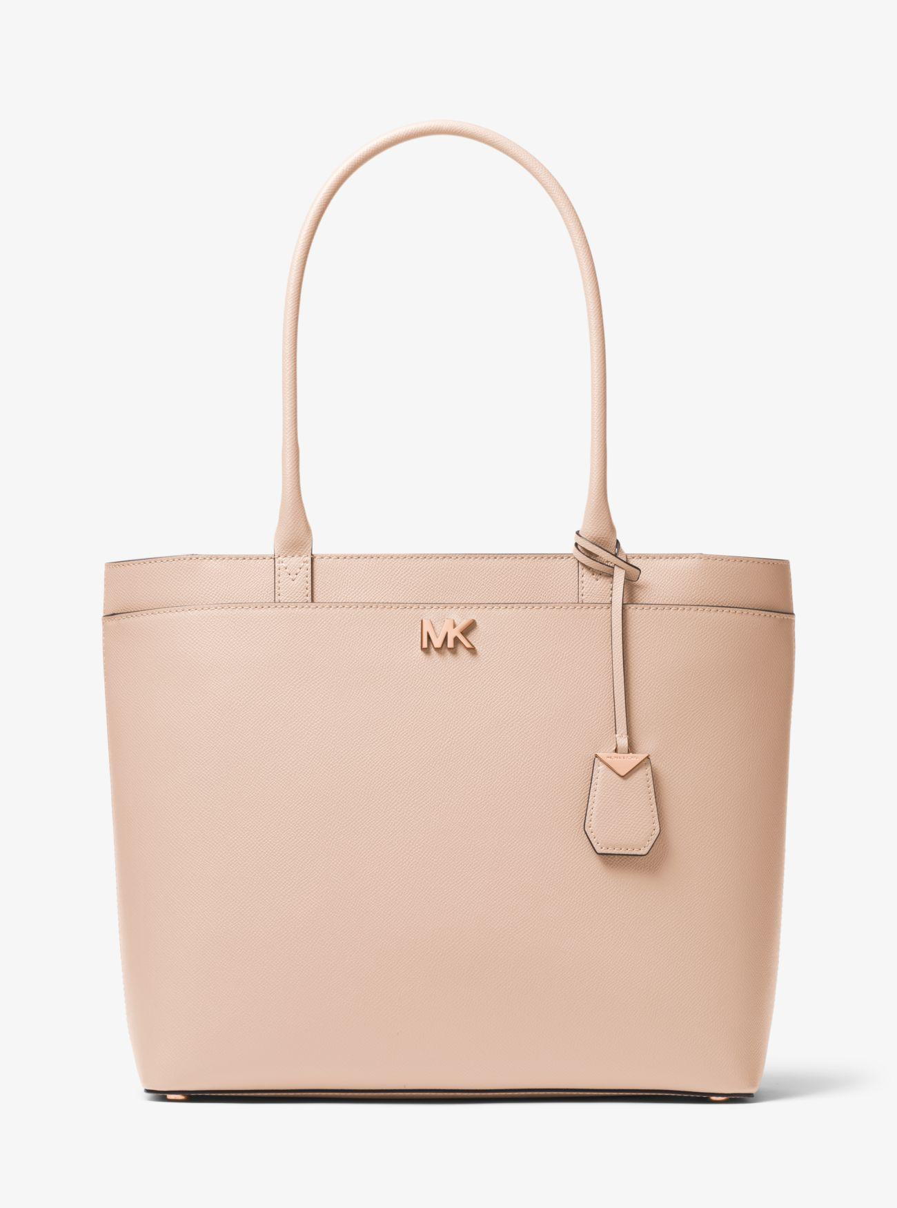 d38caa9cf1d7b2 Michael Kors Maddie Large Crossgrain Leather Tote Bag in Pink - Lyst