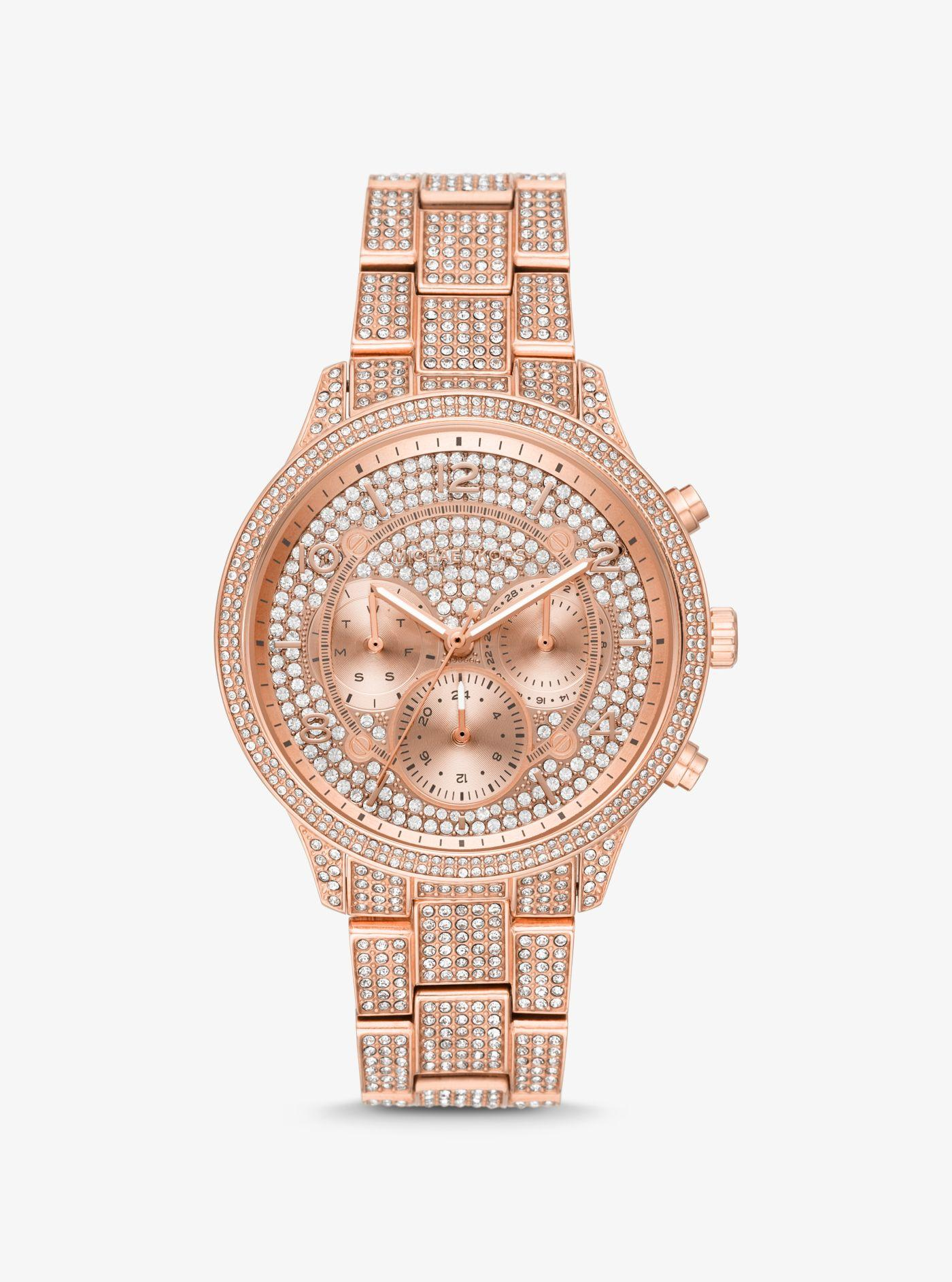 0b49be24a7c2 Lyst - Michael Kors Runway Pavé Rose Gold-tone Watch in Metallic