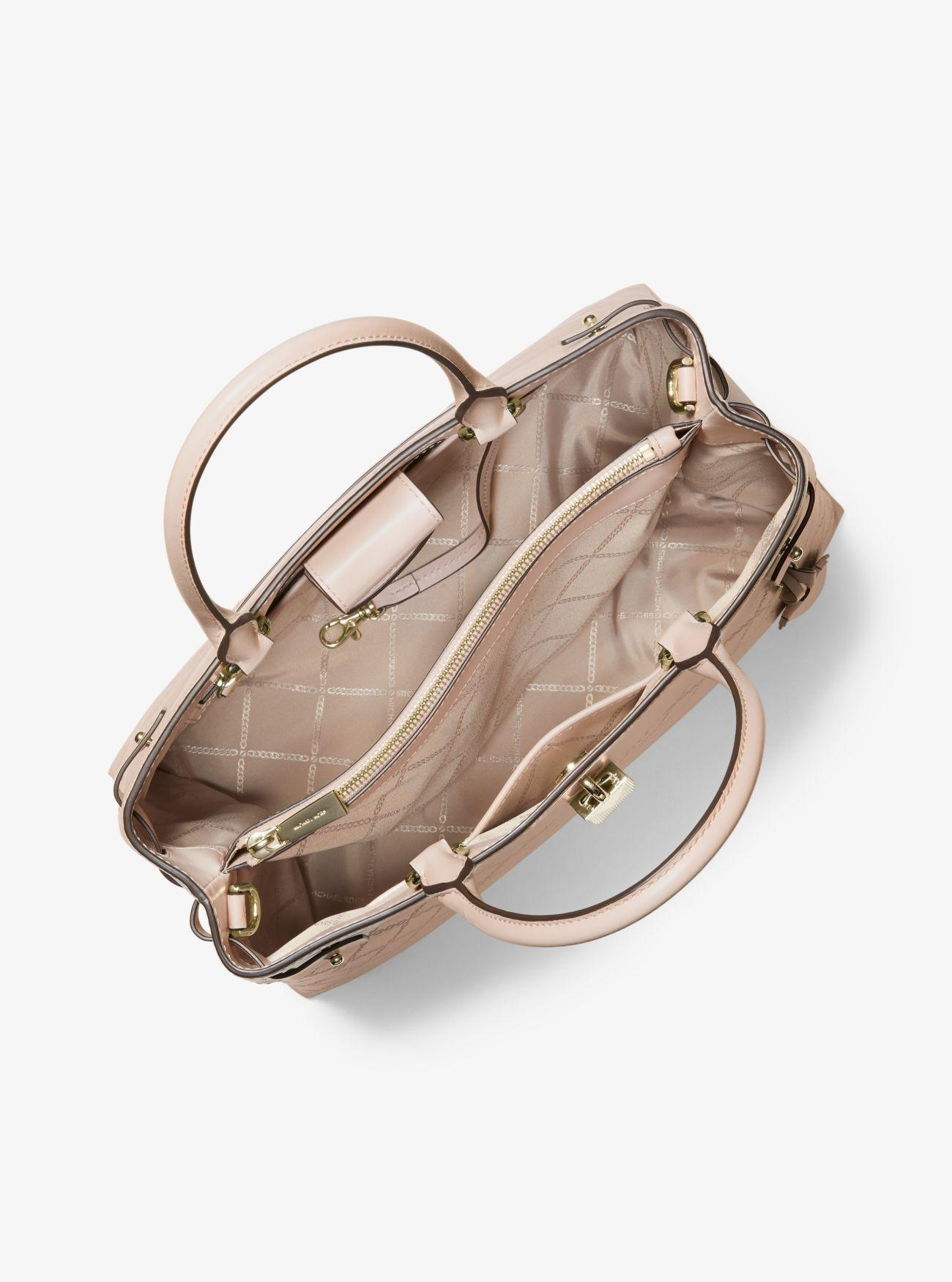 83753b7d9035 Michael Kors - Pink Gramercy Large Chain-embossed Leather Satchel - Lyst.  View fullscreen