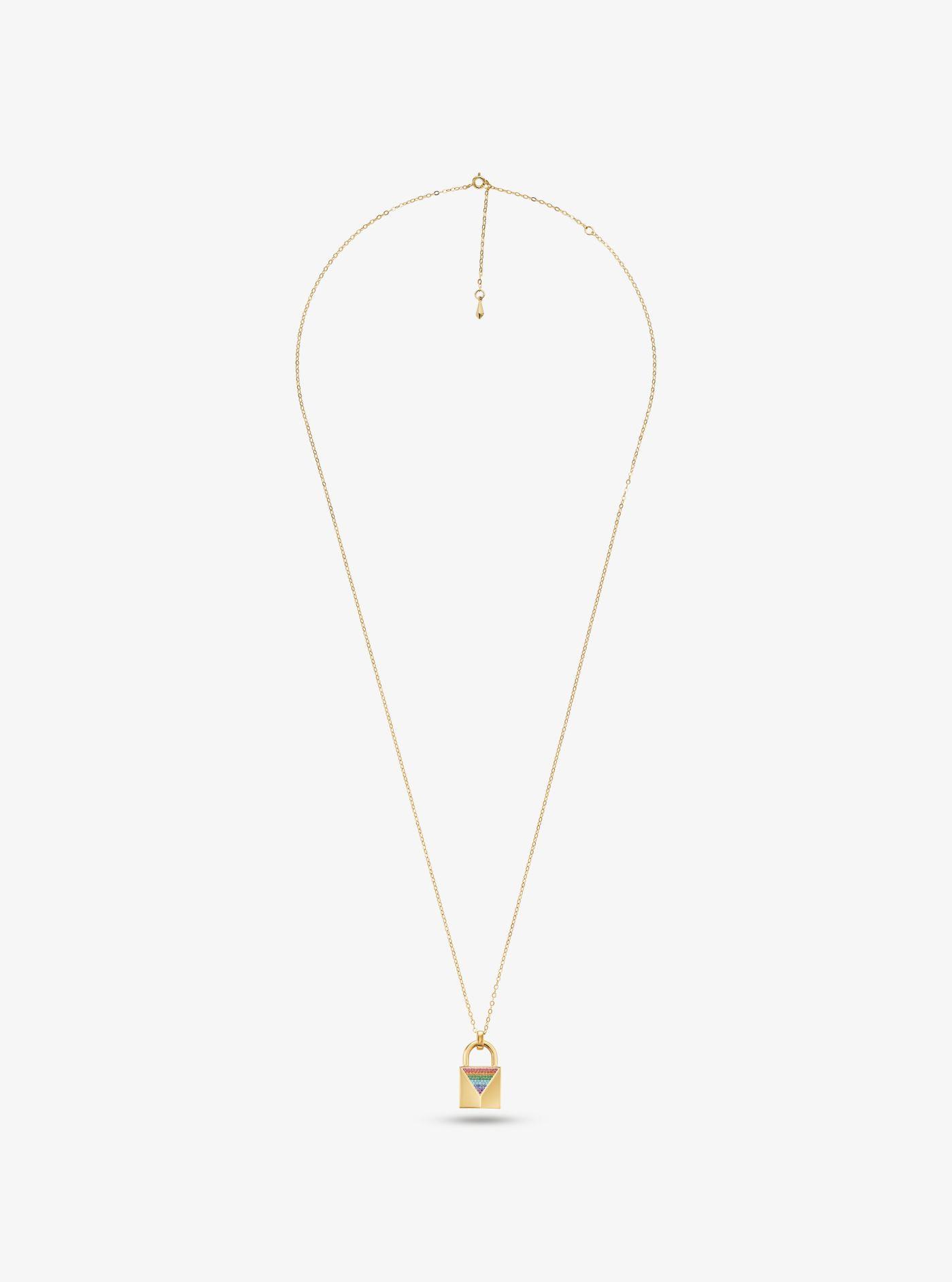 e62ce66a16cbd Michael Kors - Metallic 14k Gold-plated Sterling Silver Pavé Large Lock  Necklace - Lyst. View fullscreen