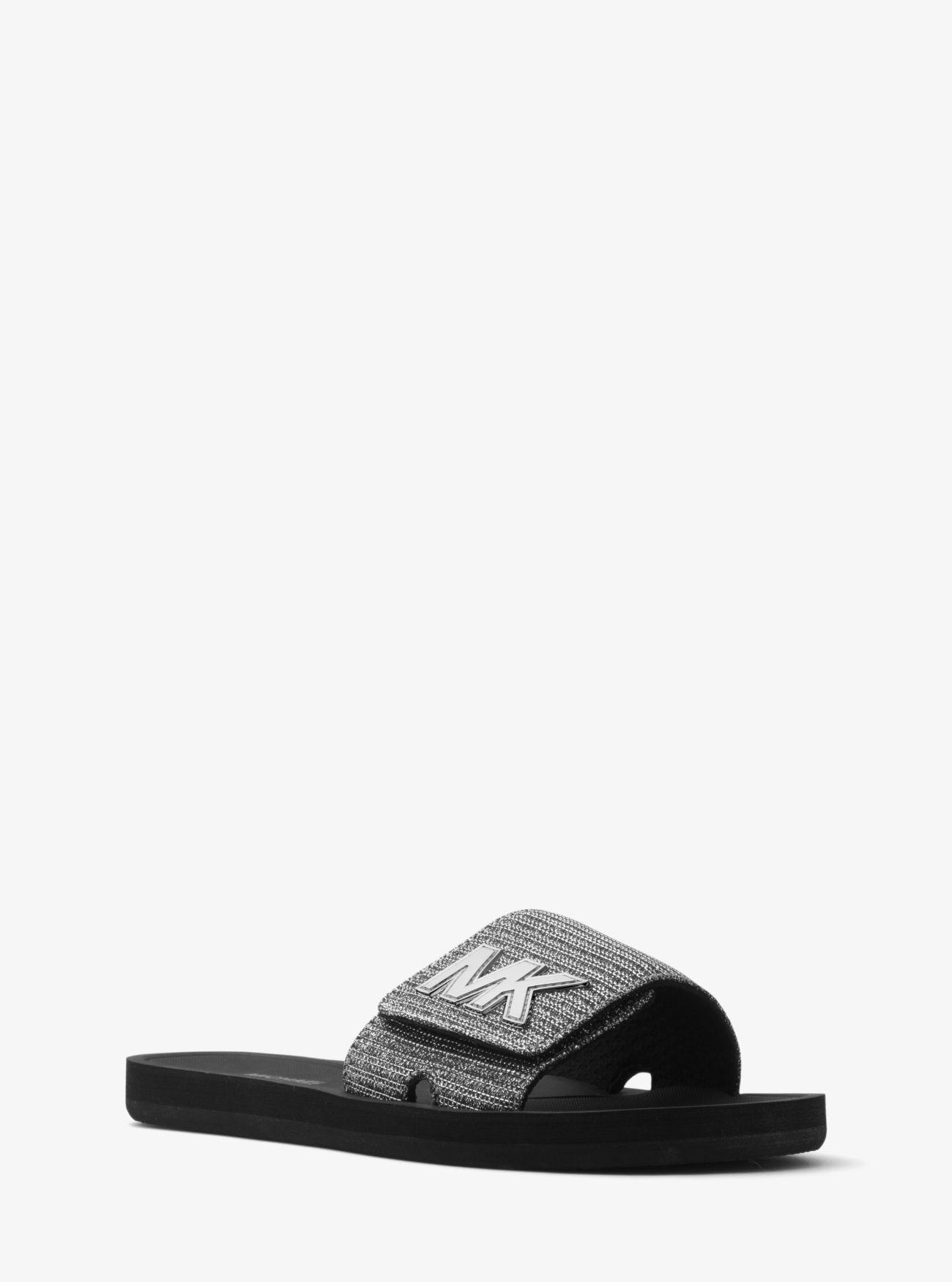 d27a1739c10c Lyst - MICHAEL Michael Kors Mk Logo Chain Mesh Slide in Metallic