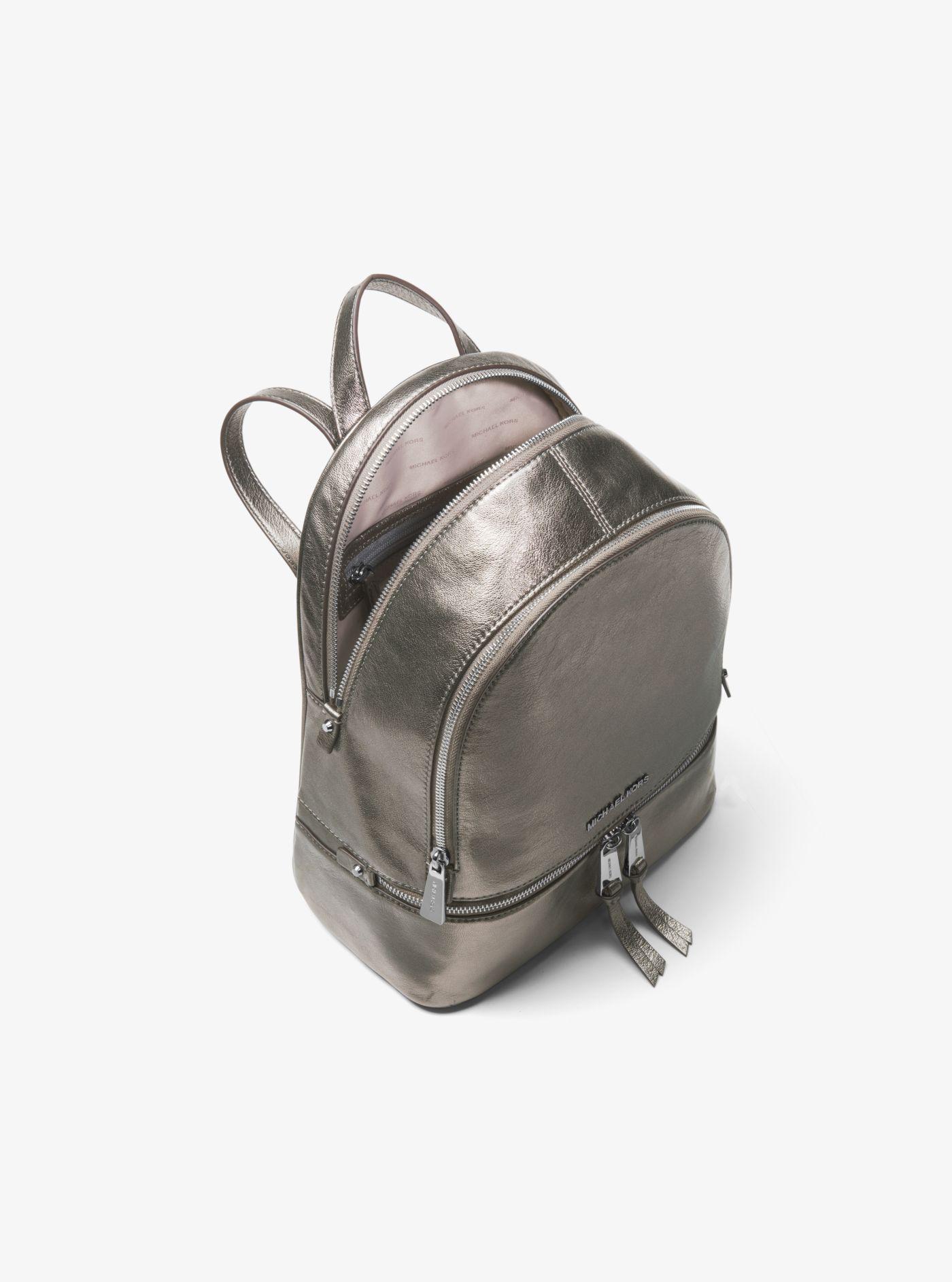d0dec8f5094b Michael Kors Rhea Medium Metallic Leather Backpack - Lyst