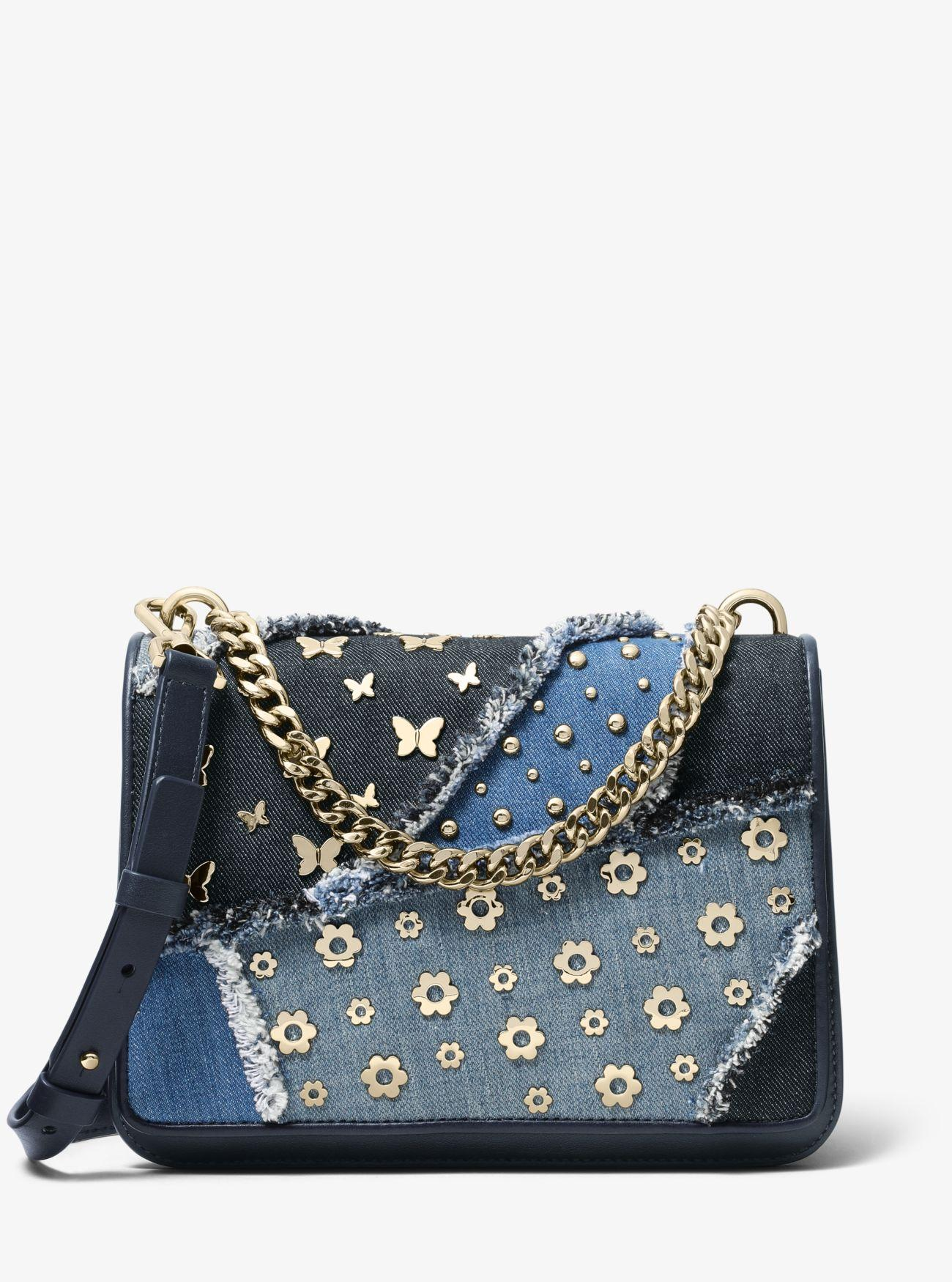 f4729902ce4d Michael Kors Mott Large Embellished Patchwork Crossbody Bag in Blue ...