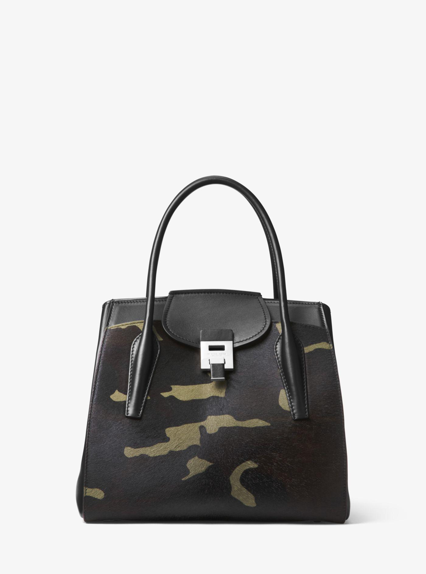 66f2da7ea47e00 ... discount code for lyst michael kors bancroft large camouflage calf hair  satchel in green db0a5 d7bcc