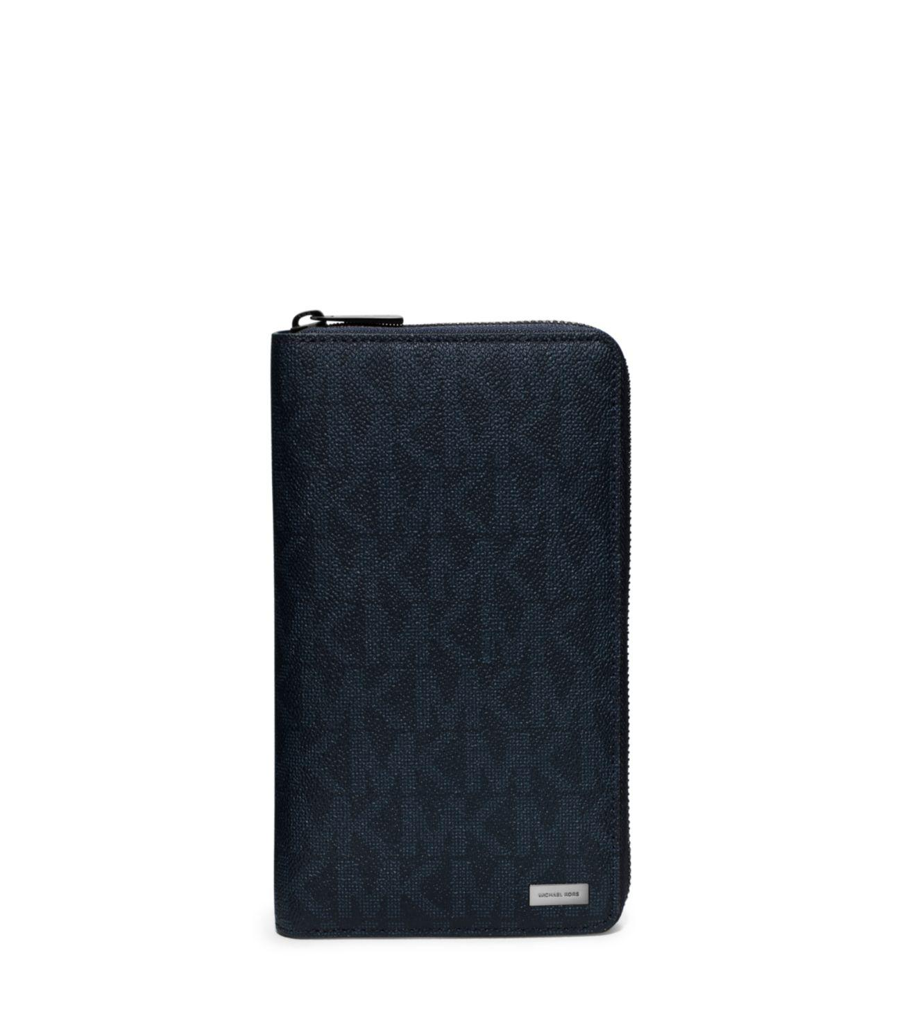 Michael Kors Jet Set Logo Zip Around Travel Wallet In Blue