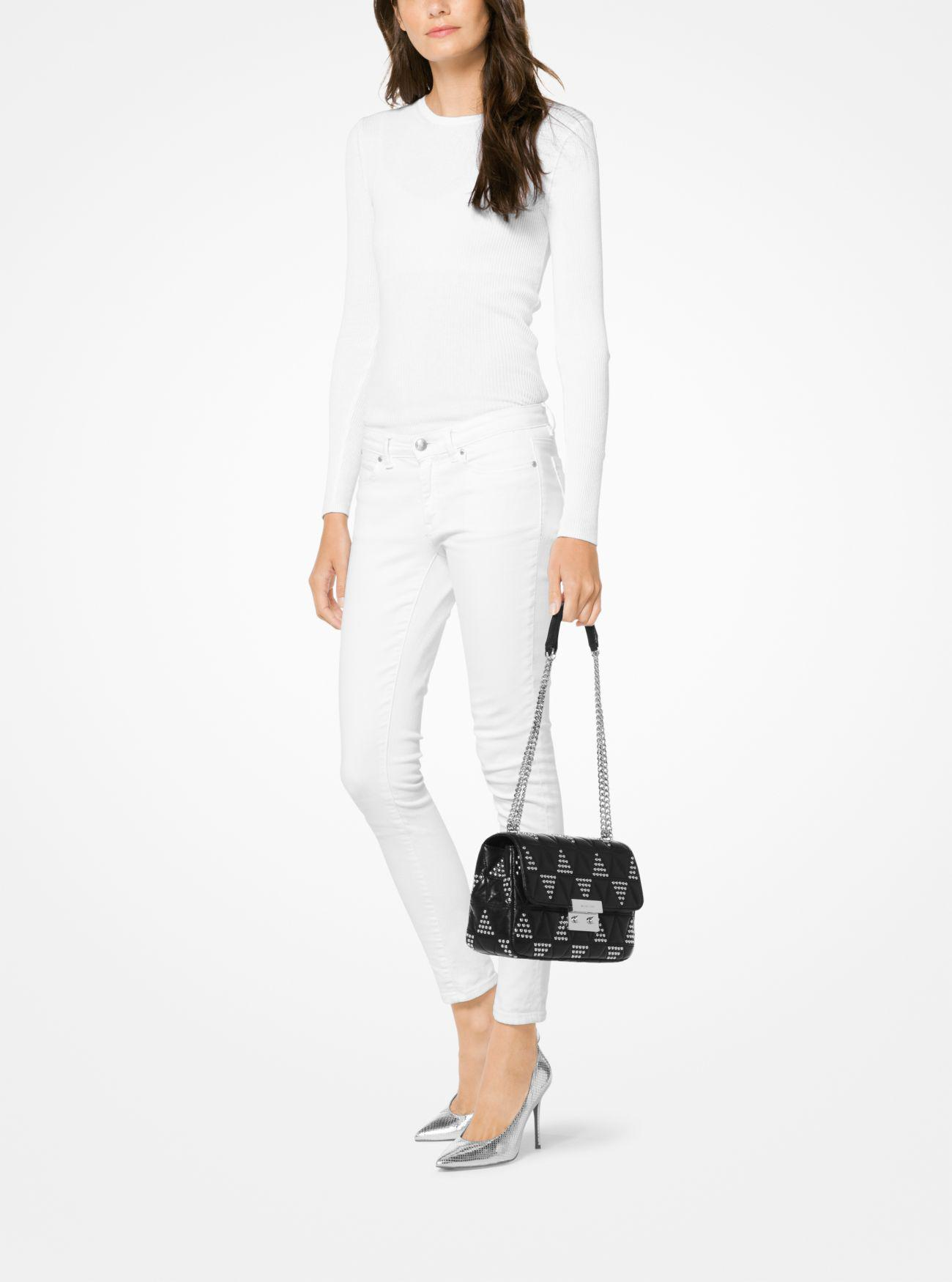 735e829a21c Lyst - Michael Kors Sloan Large Studded Leather Shoulder Bag in Black
