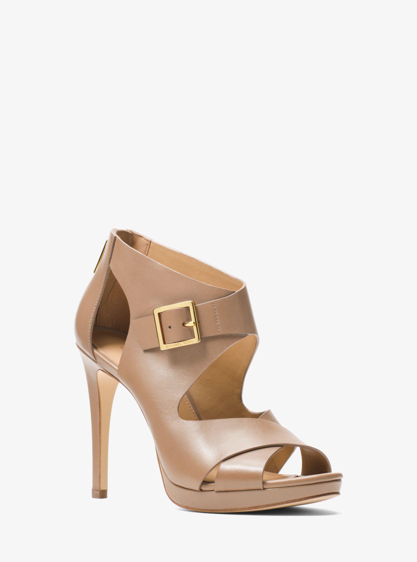 5c2f92fbf3d Michael Kors Kimber Leather Platform Sandal in Natural - Lyst