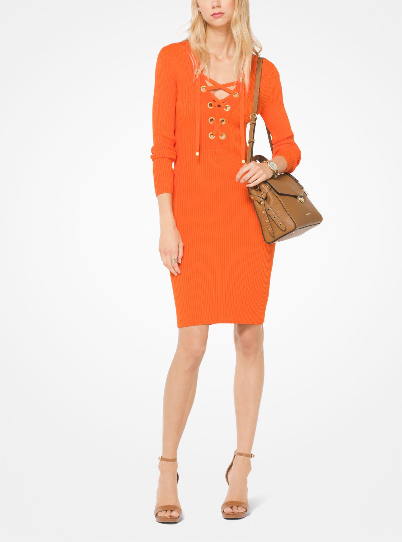 f34eb7bc07 Lyst - Michael Kors Lace-up Ribbed Dress in Orange