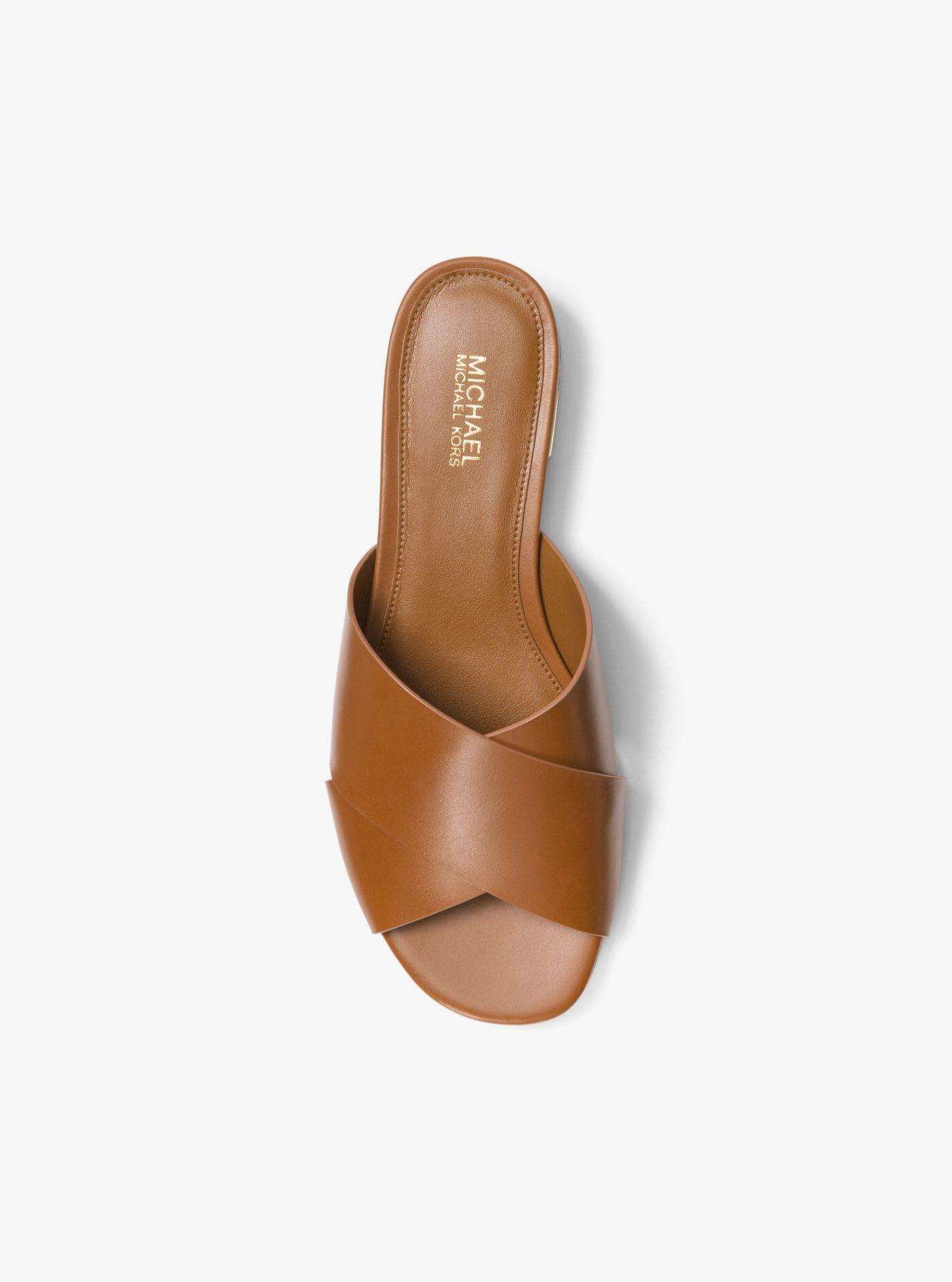 0207bc1e6c31 Lyst - Michael Kors Shelley Leather Slide in Brown