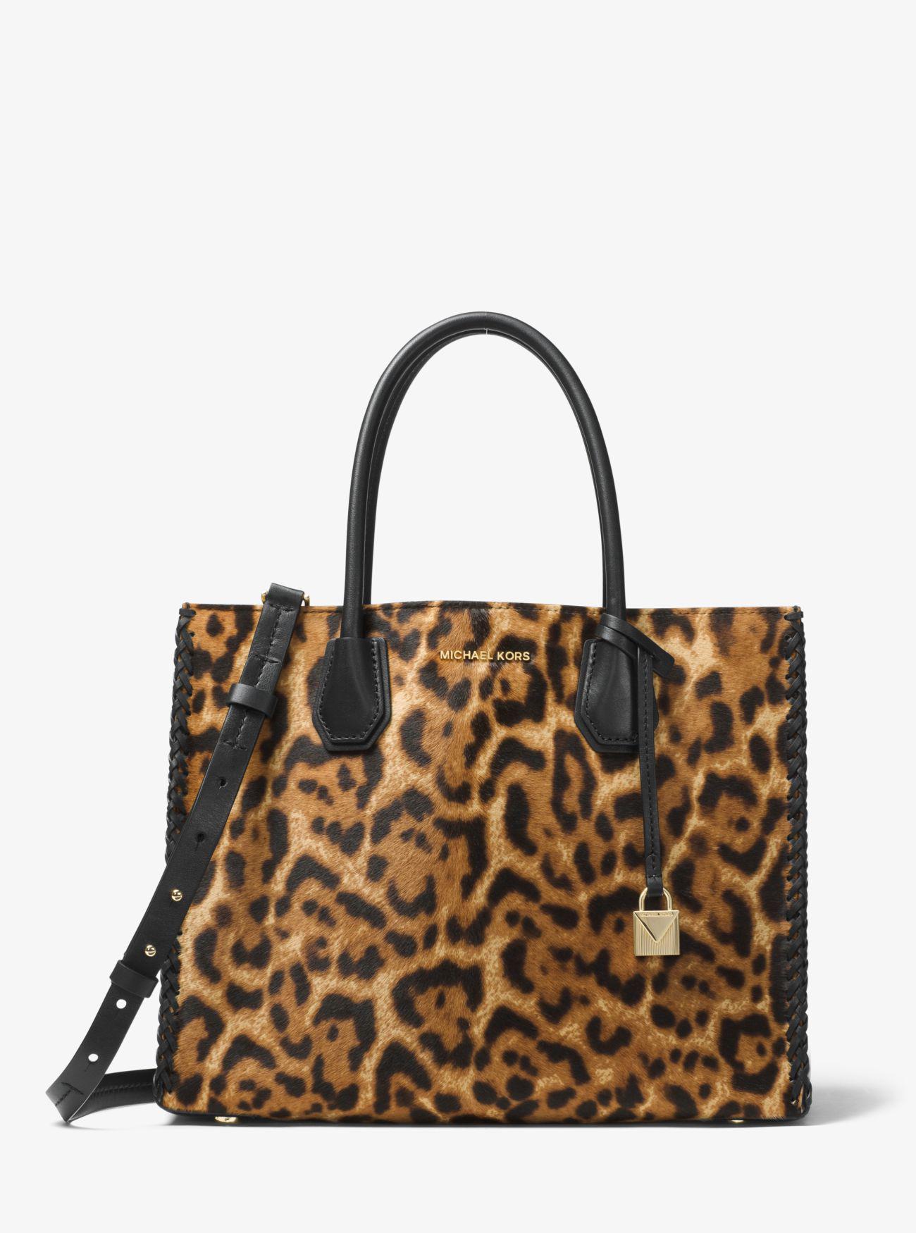 9deb862b5494 ... low price michael kors mercer leopard calf hair tote in brown lyst michael  kors bag a9a8e