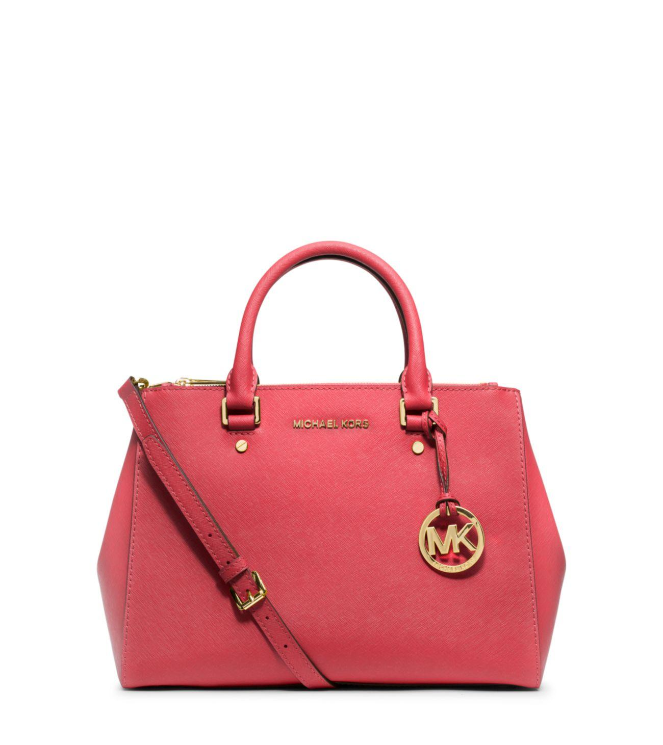 17a96d4734e4ee Michael Kors Sutton Medium Saffiano Leather Satchel in Red - Lyst