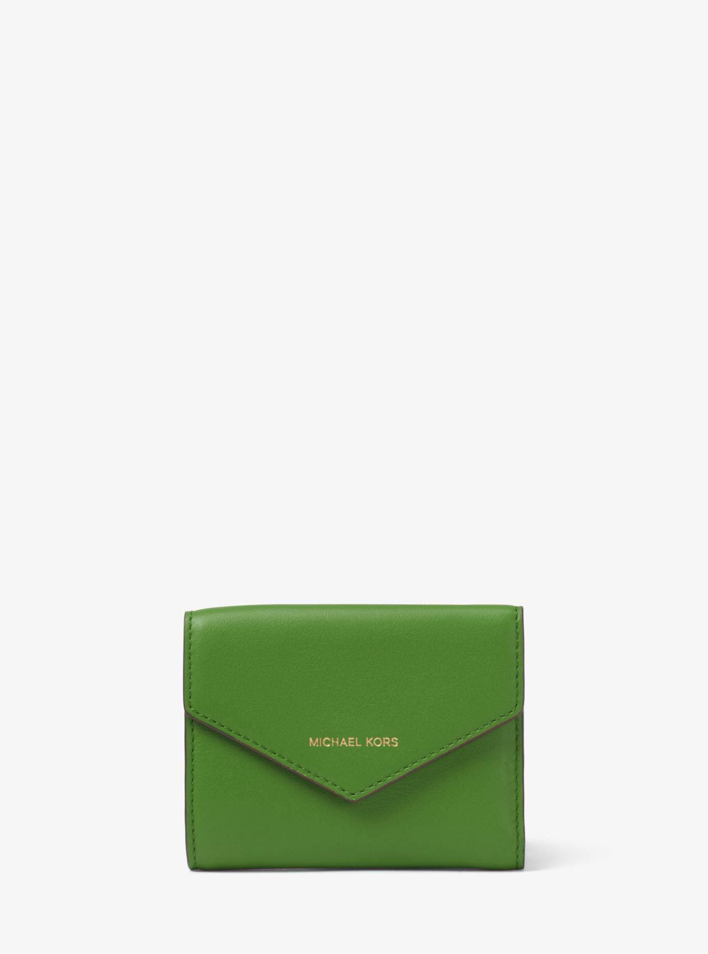 baccedf12fcb Lyst - Michael Kors Small Leather Envelope Wallet in Green