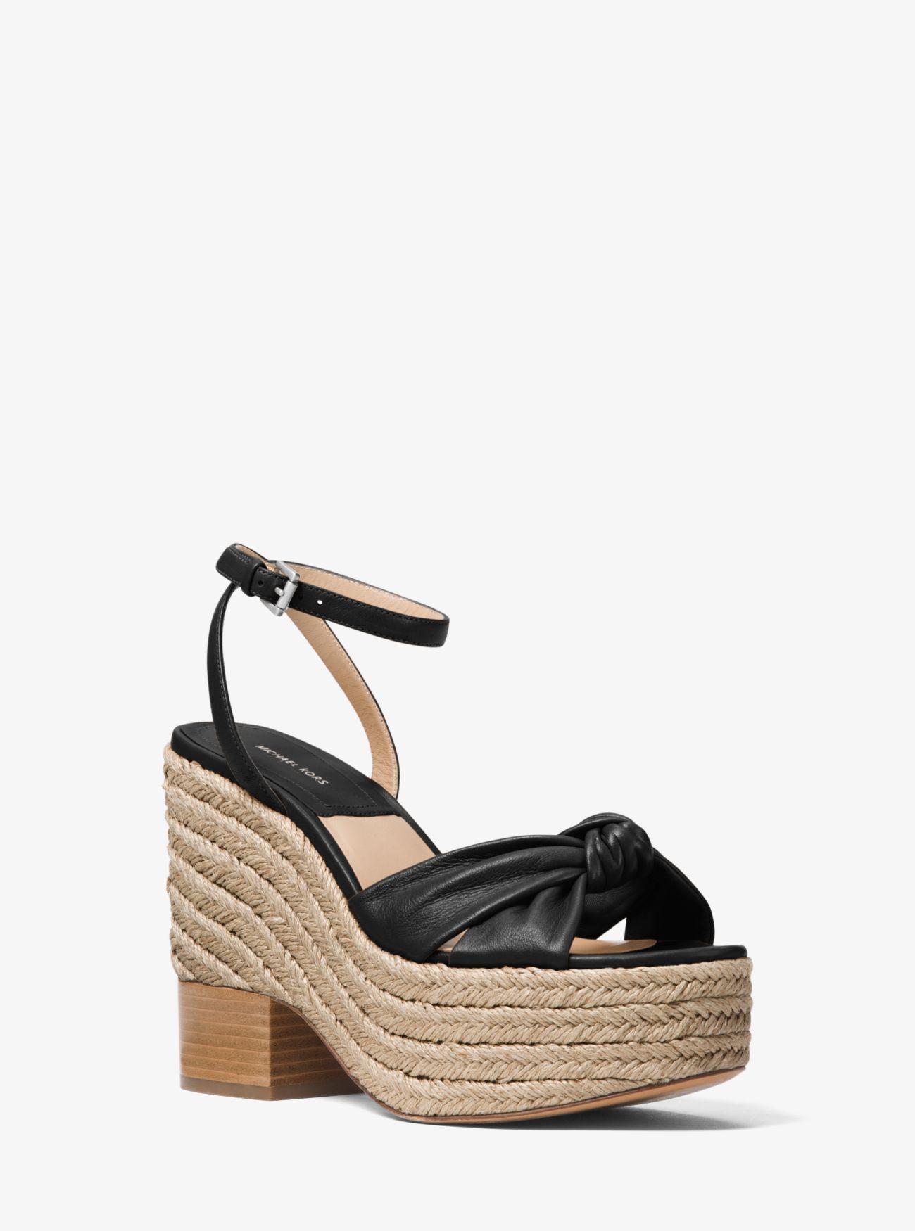 4c9b29a434f3 Lyst - Michael Kors Silvana Leather Platform Sandal in Black