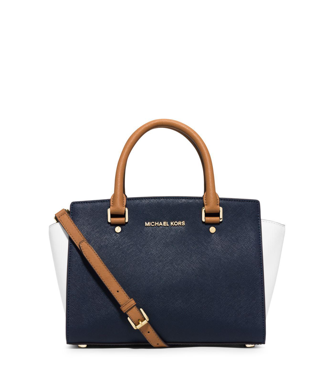 Lyst - Michael Kors Selma Medium Color-block Leather Satchel in Blue 17e20b109fbaf