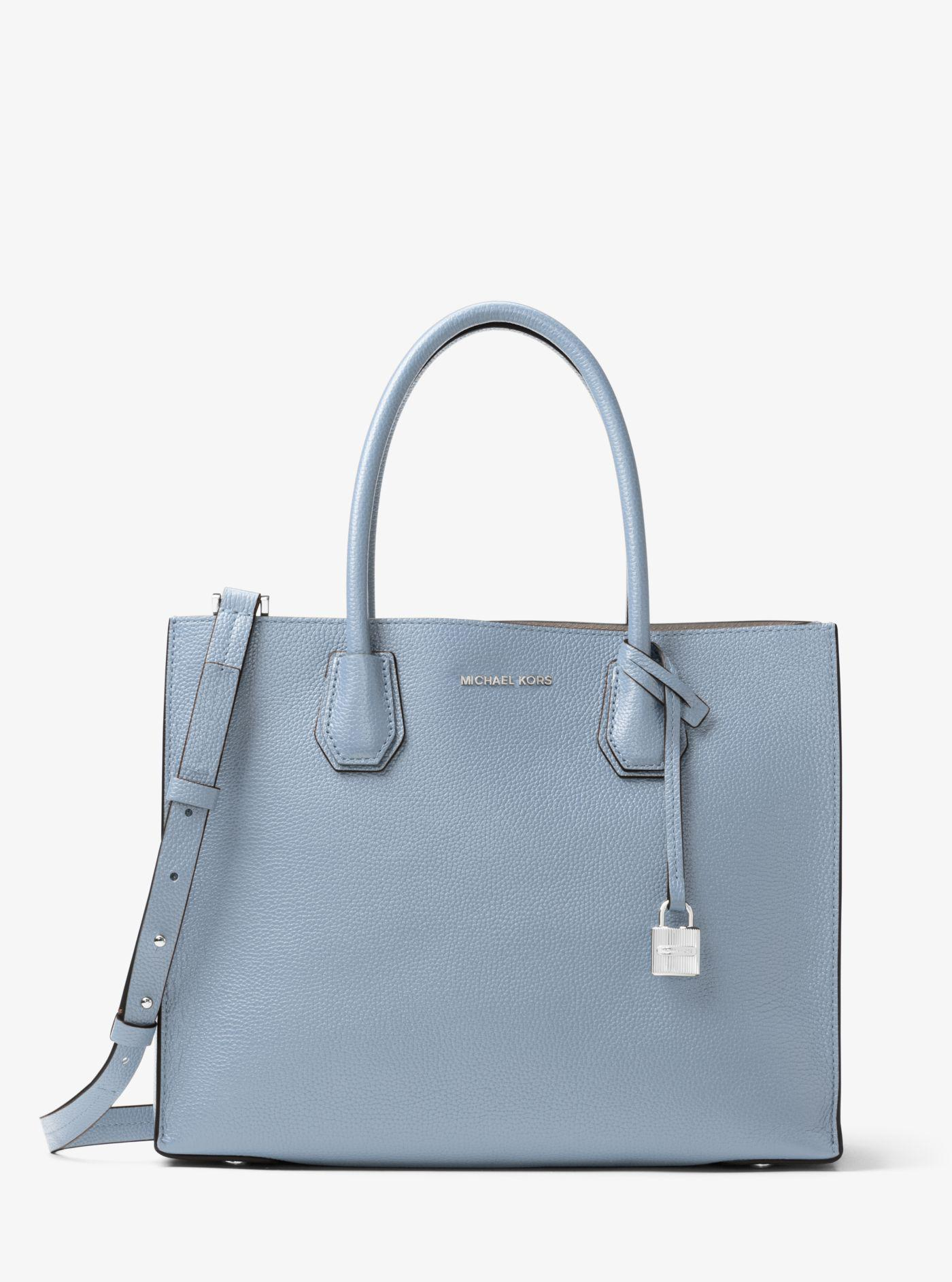 0d24680ef5 ... shop lyst michael kors mercer large leather tote in blue 3dc05 54bce