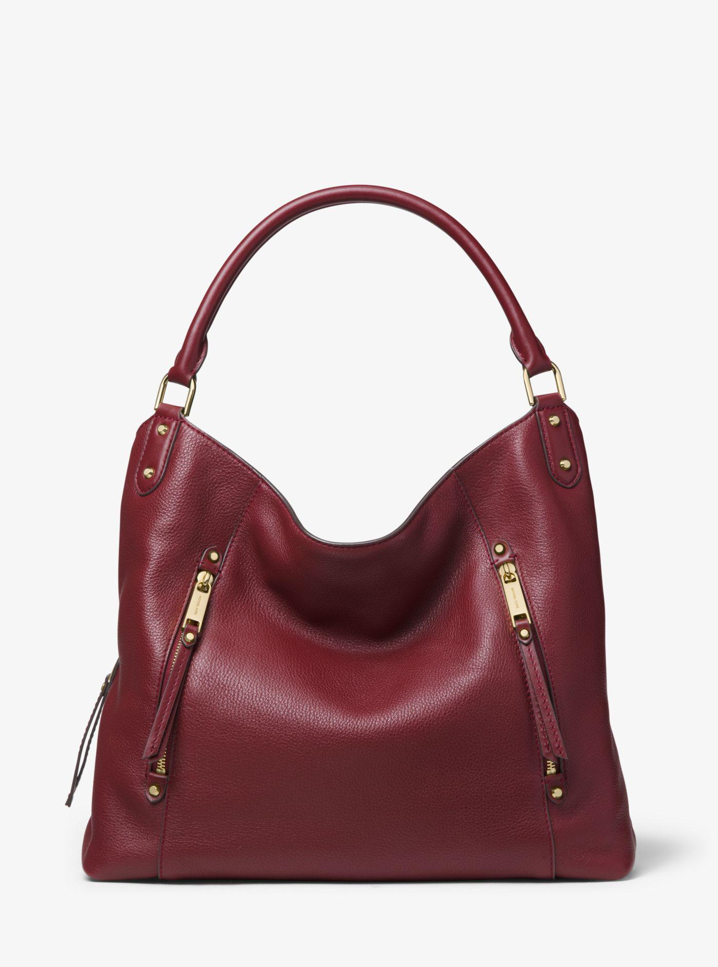 5d53dbbe7d9a Michael Kors Evie Large Pebbled Leather Shoulder Bag in Red - Lyst