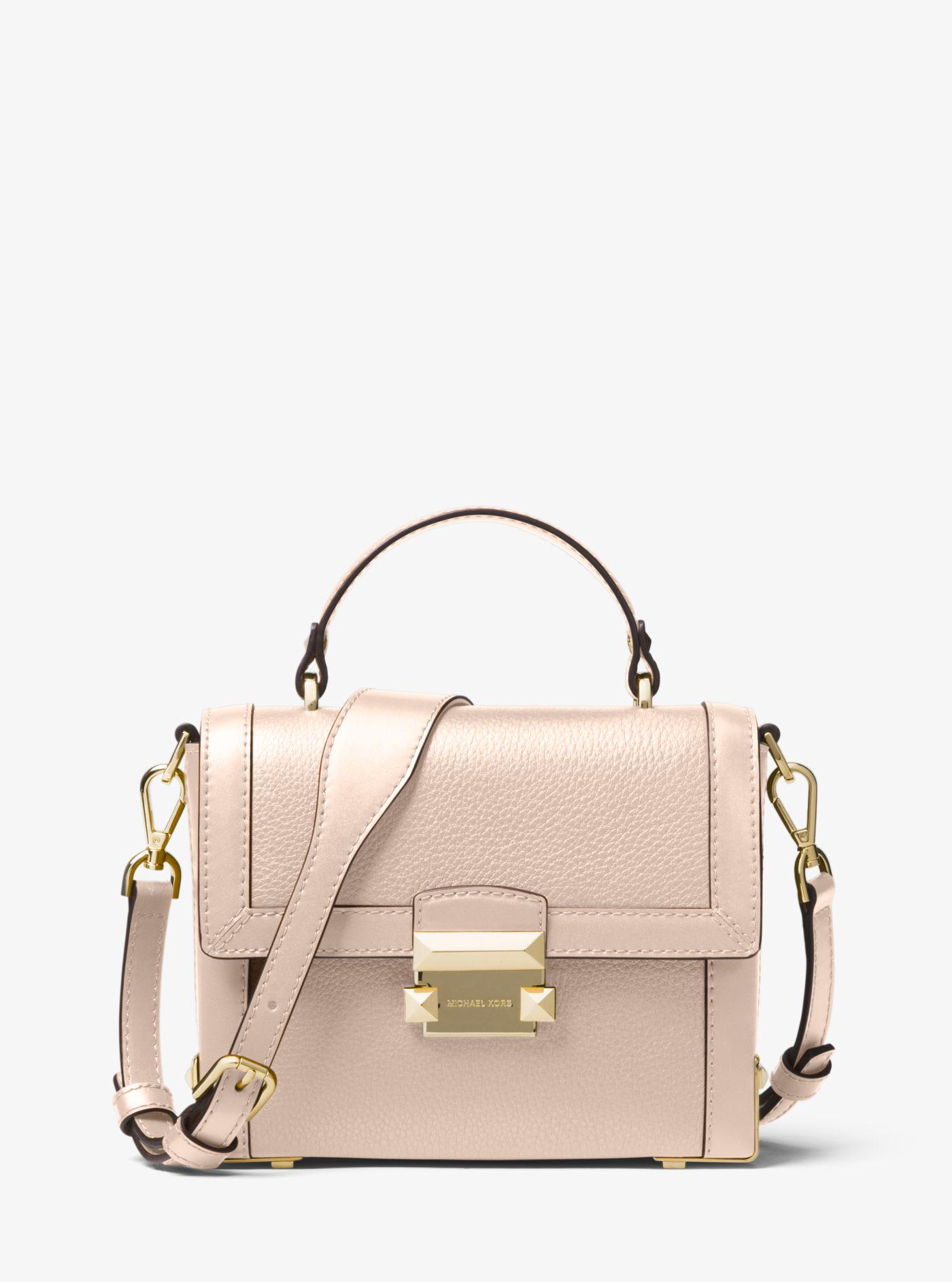 df9b23fa9bdc Lyst - Michael Kors Jayne Small Pebbled Leather Trunk Bag in Pink