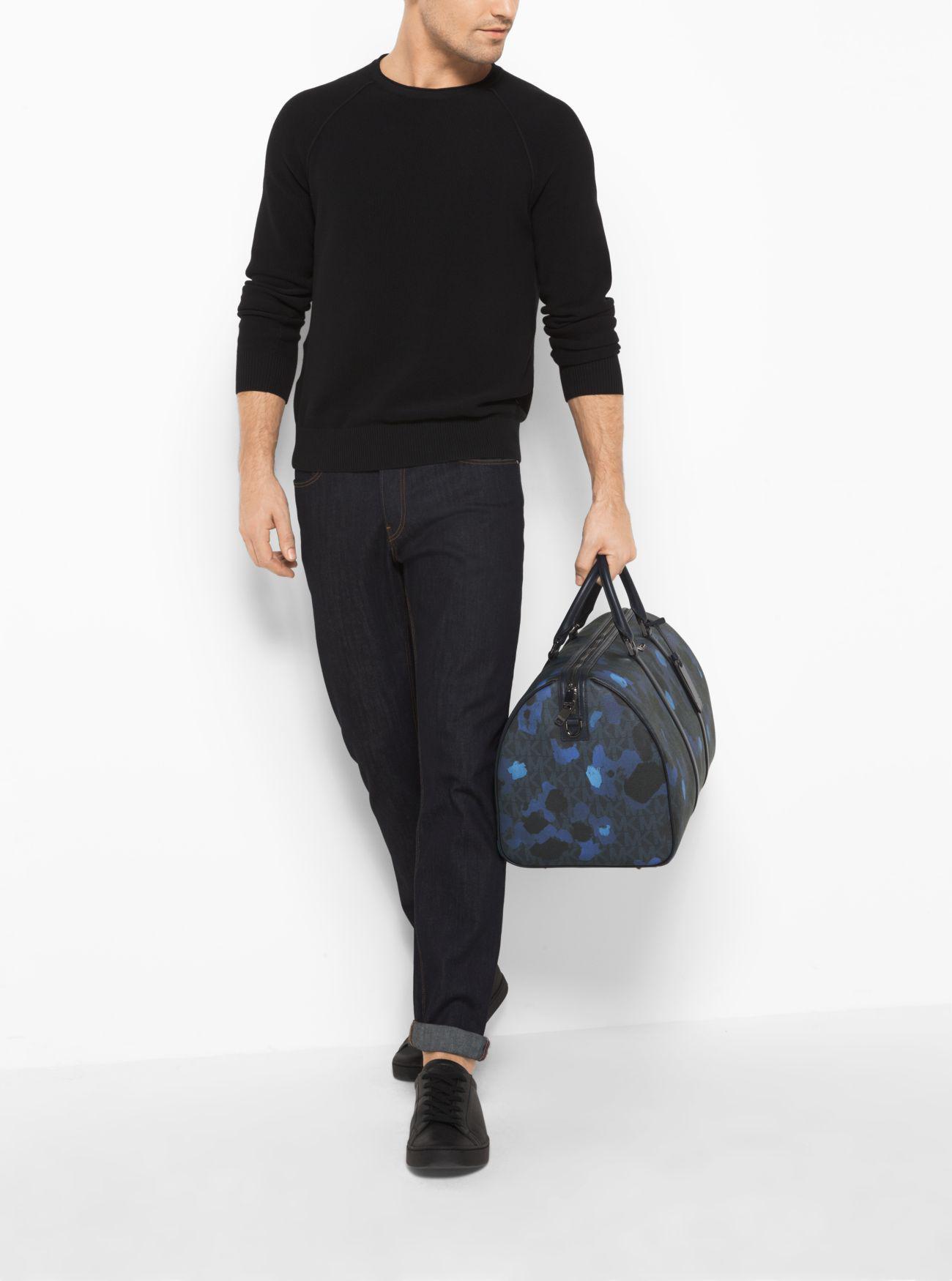 e540acf9582 Lyst - Michael Kors Jet Set Painterly Camo Large Duffel Bag in Blue ...