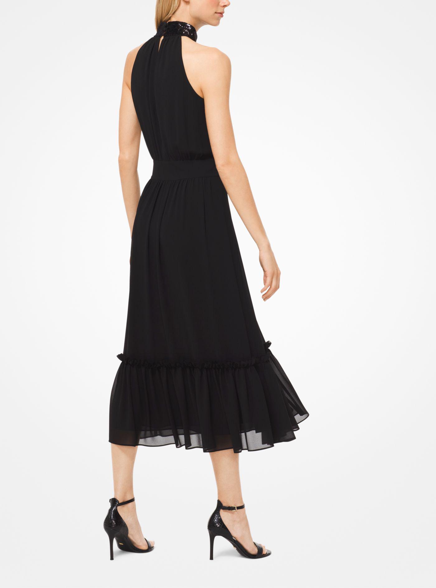 a498ee4db7 Lyst - Michael Kors Sequined Georgette Halter Dress in Black
