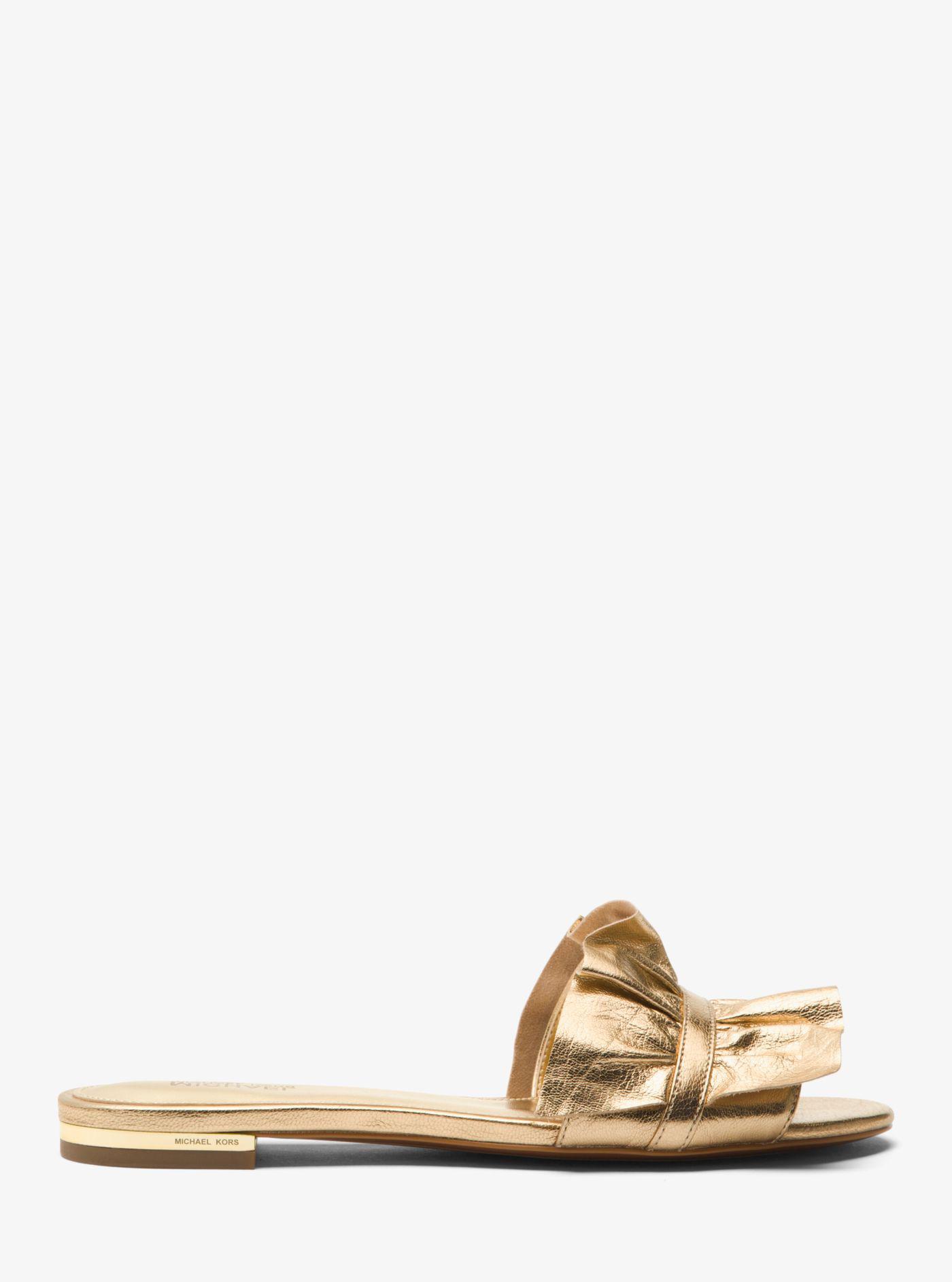 e262e978a062 Lyst - Michael Kors Bella Ruffled Metallic Leather Slide in Metallic