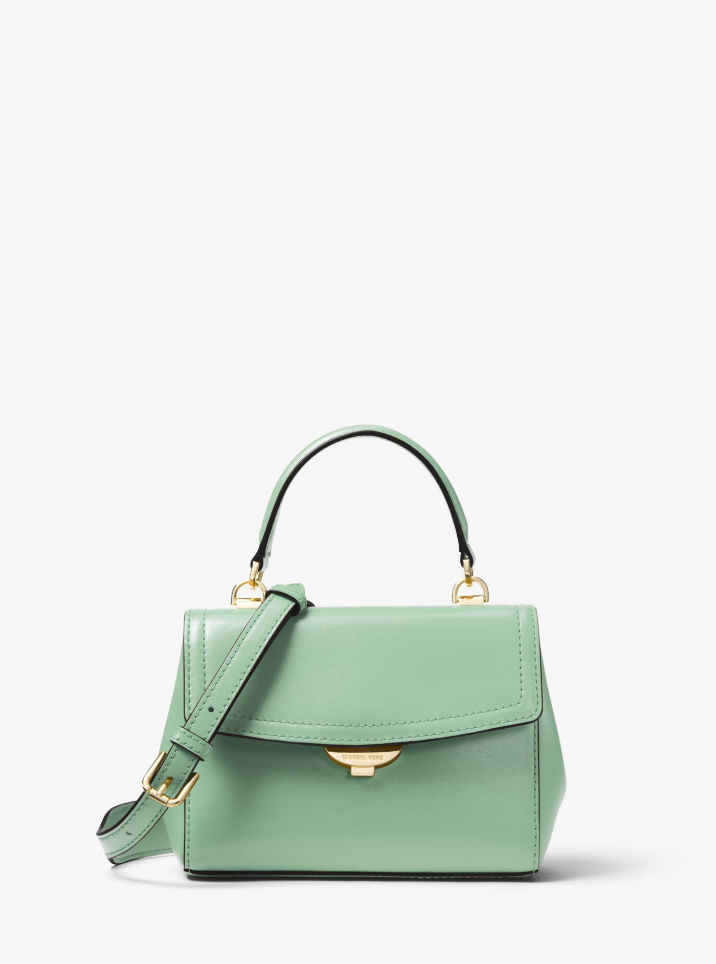 d8a0a0613f25 Lyst - Michael Kors Ava Extra-small Leather Crossbody in Green