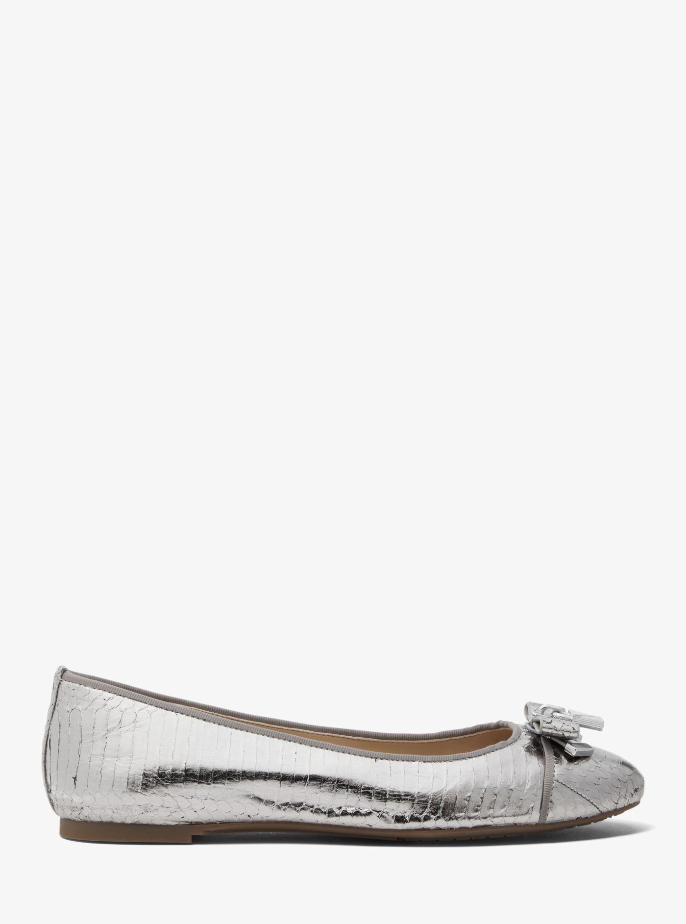 42cda57fe350e Michael Kors Alice Metallic Snakeskin Ballet Flat in Metallic - Lyst