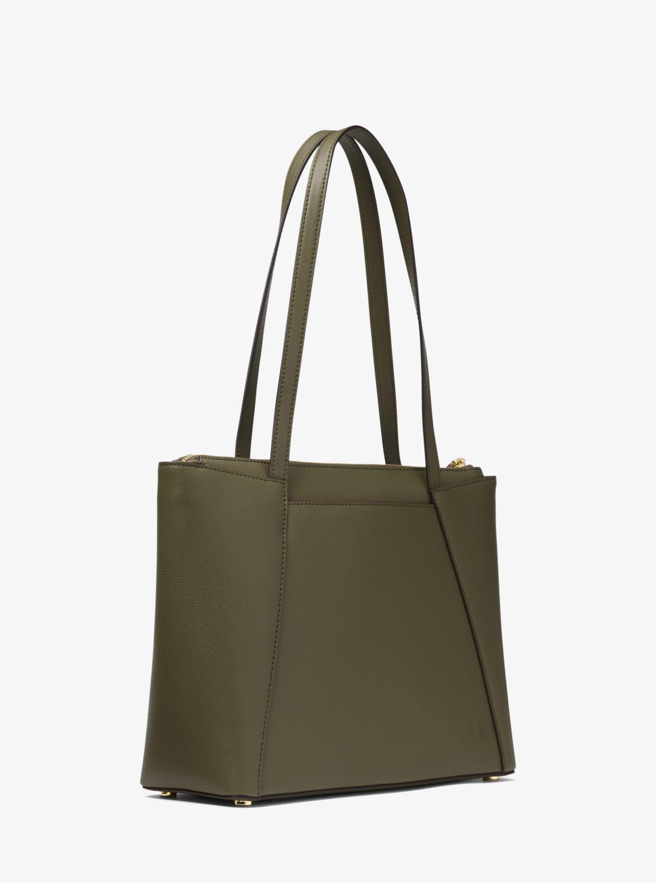 69c0bed18efb Michael Kors - Green Maddie Medium Crossgrain Leather Tote Bag - Lyst. View  fullscreen