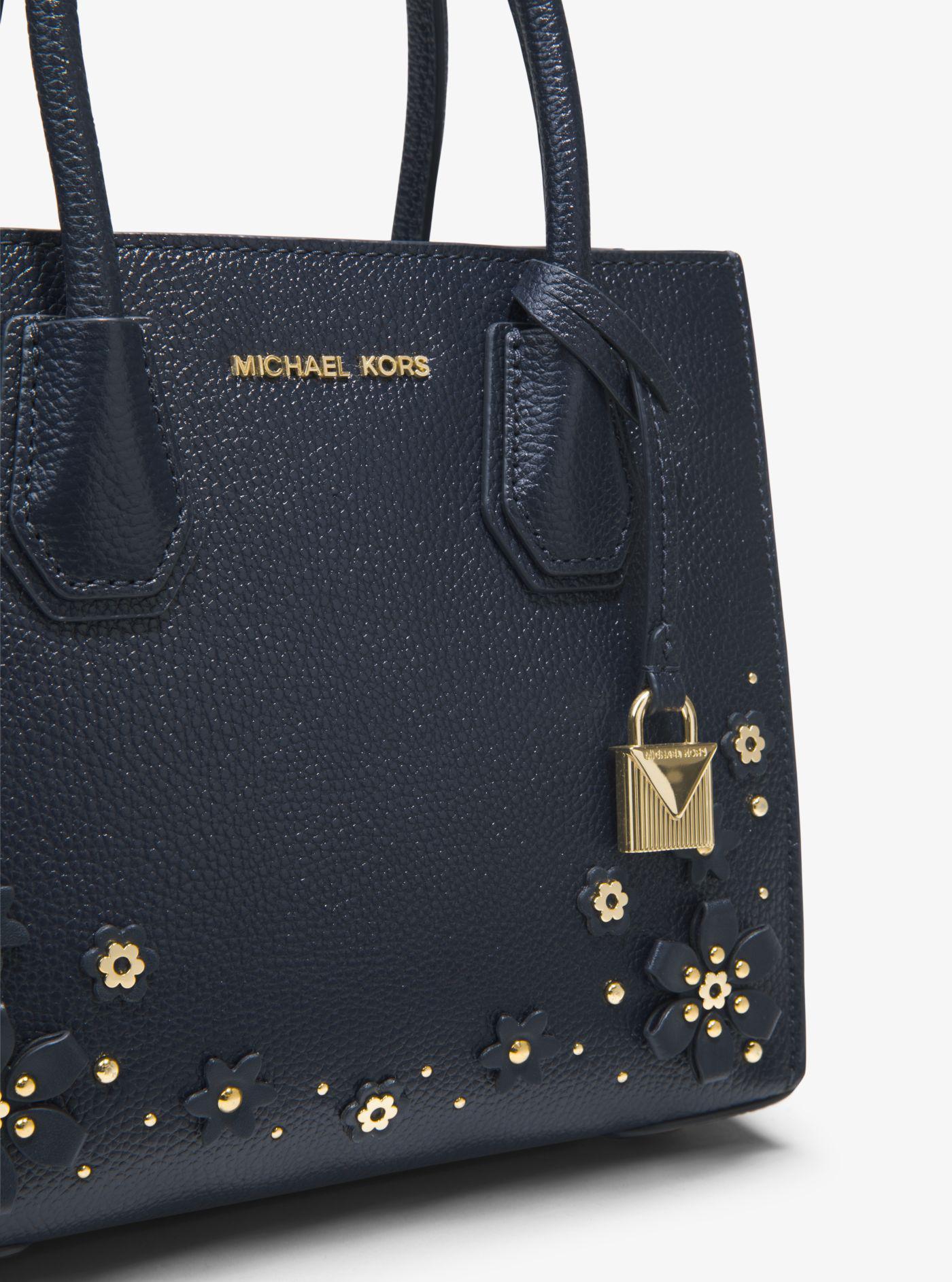 f6db6567af363d Michael Kors Mercer Floral Embellished Leather Crossbody Bag - Lyst