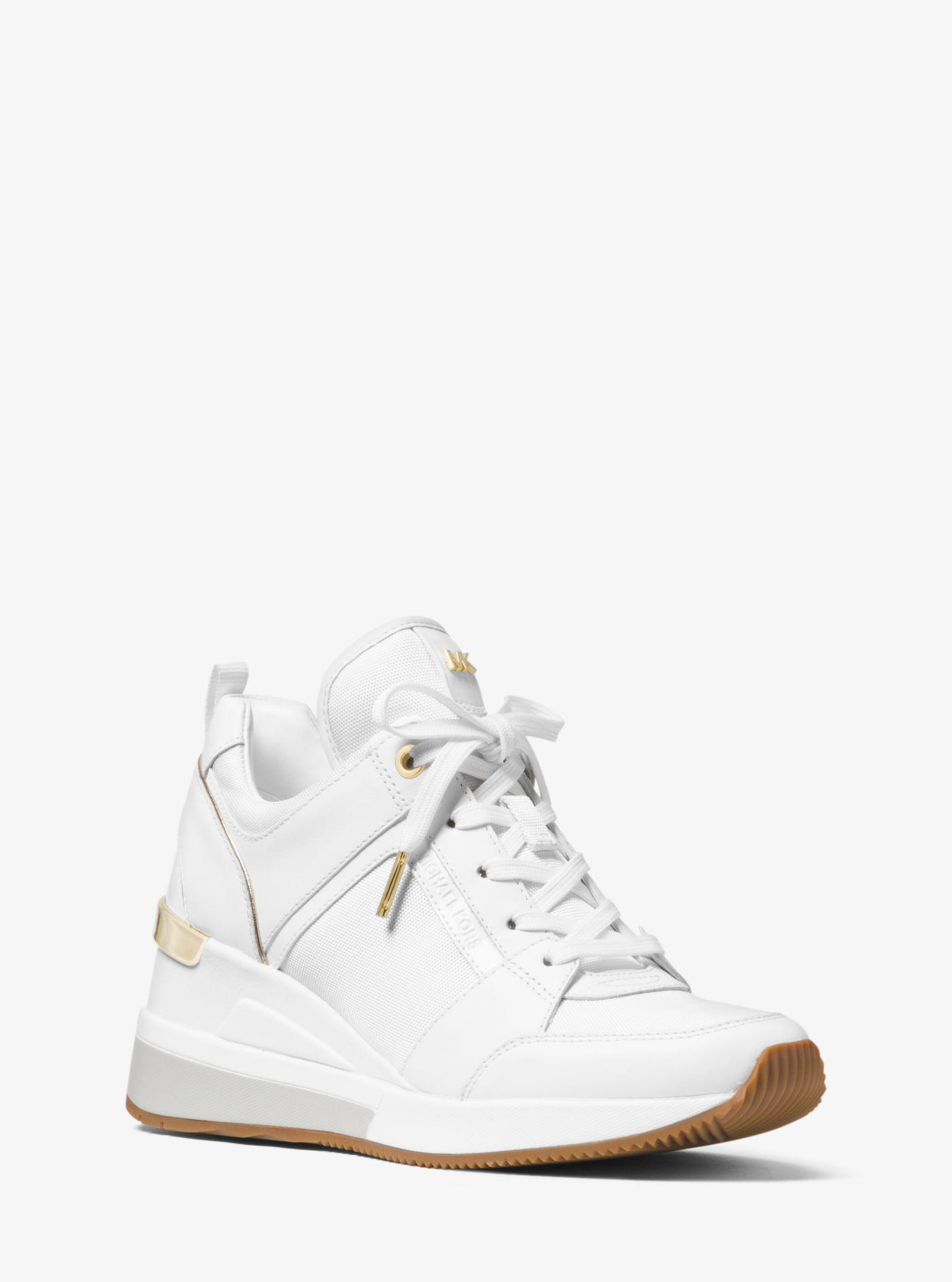 36654924f71c Lyst - Michael Kors Georgie Canvas And Leather Sneaker in White
