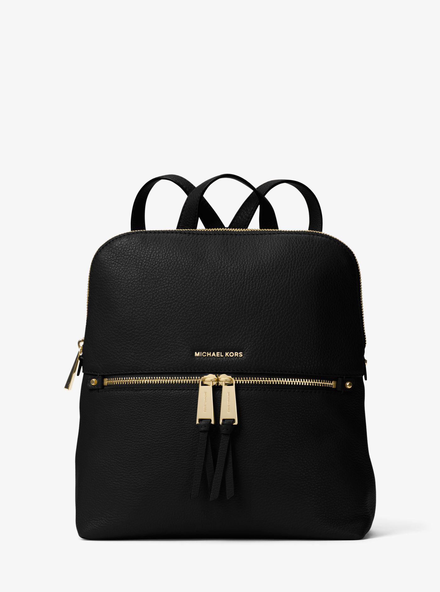 e72c7077ab5840 Michael Kors - Black Rhea Medium Slim Leather Backpack - Lyst. View  fullscreen