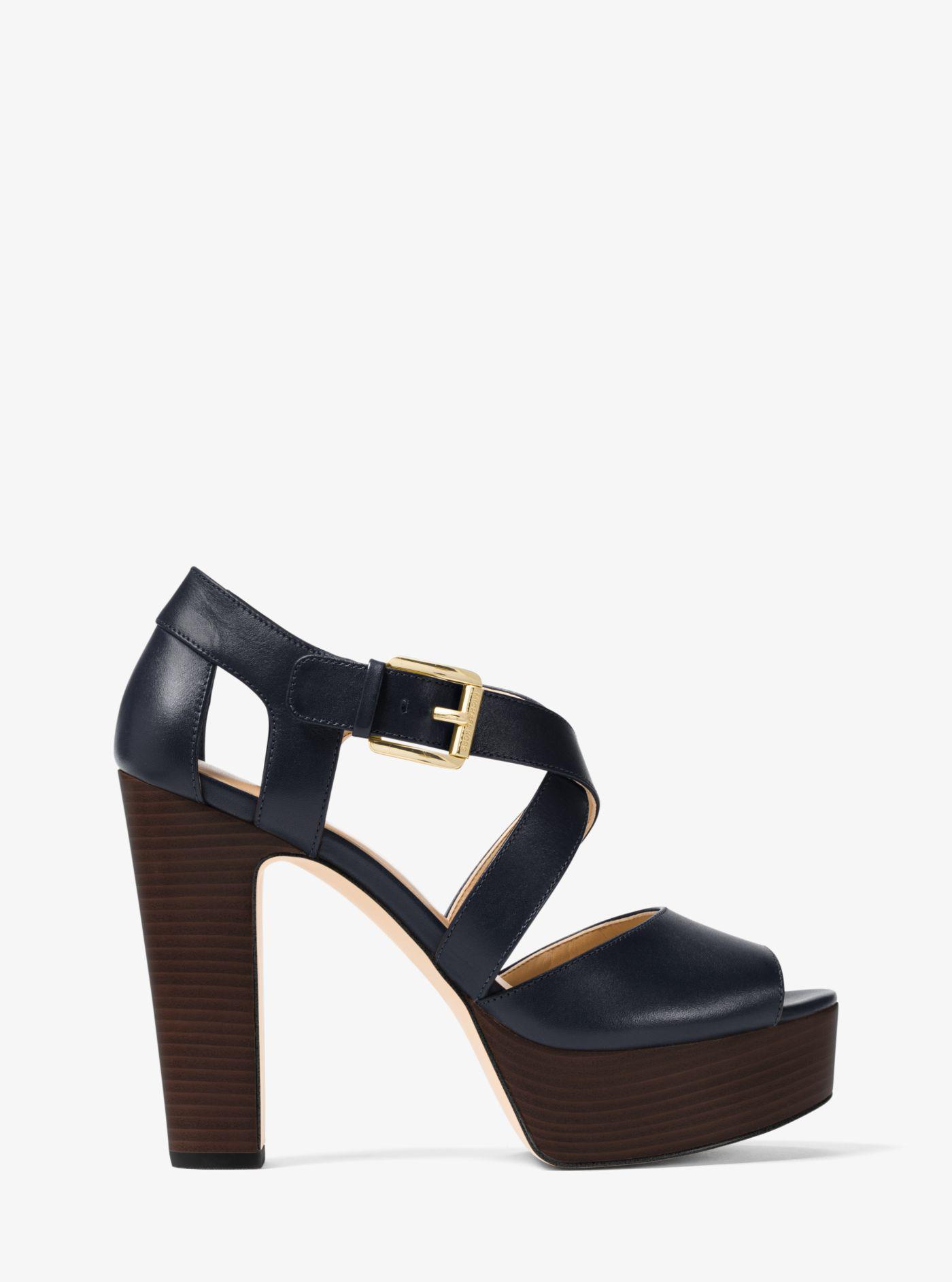 6594bdaf321 Lyst - Michael Kors Jodi Leather Platform Sandal in Blue